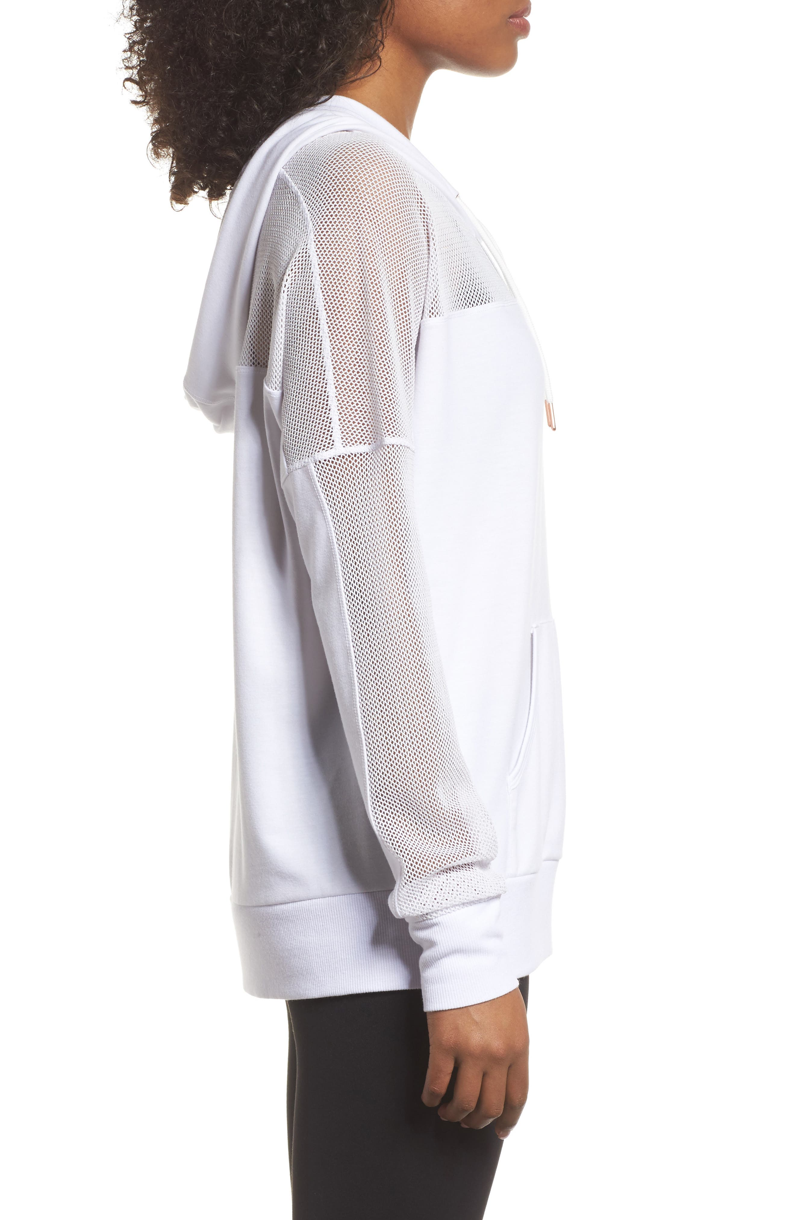 Mesh Sleeve Hoodie,                             Alternate thumbnail 3, color,                             White
