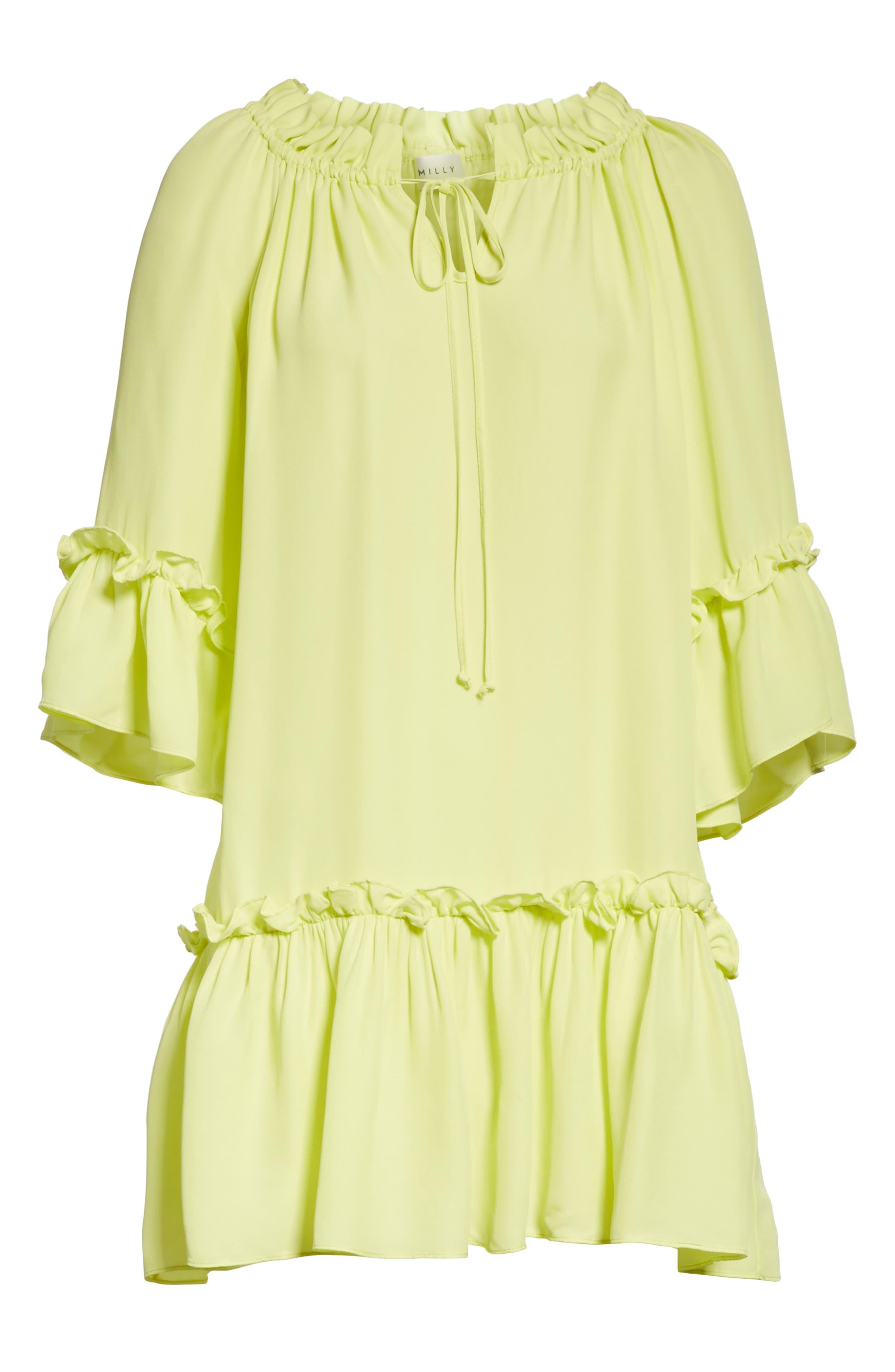 Santorini Ruffle Mini Dress,                             Alternate thumbnail 6, color,                             Lemon Yellow
