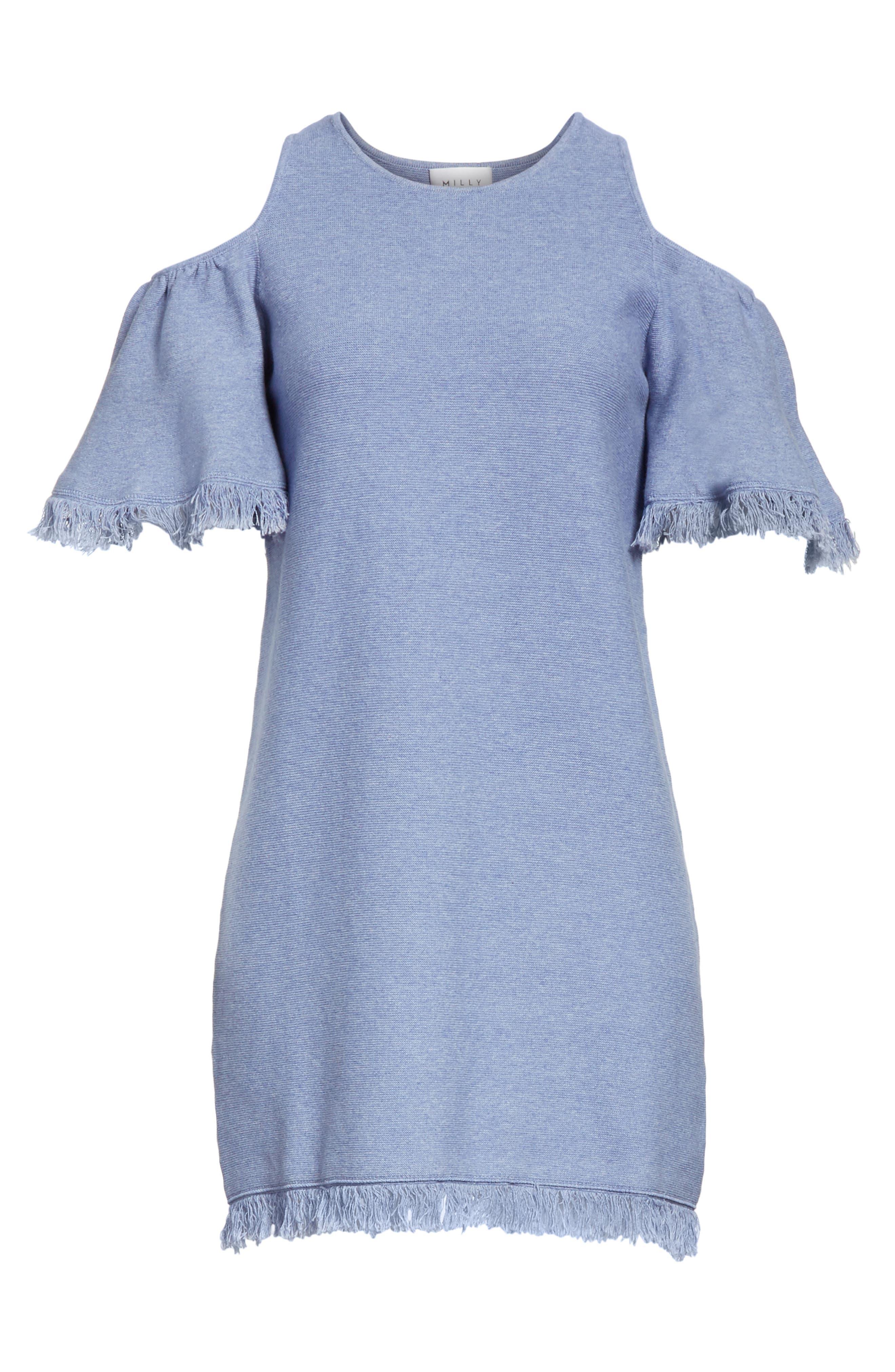 Denim Knit Fringe Cold Shoulder Minidress,                             Alternate thumbnail 6, color,                             Chambray