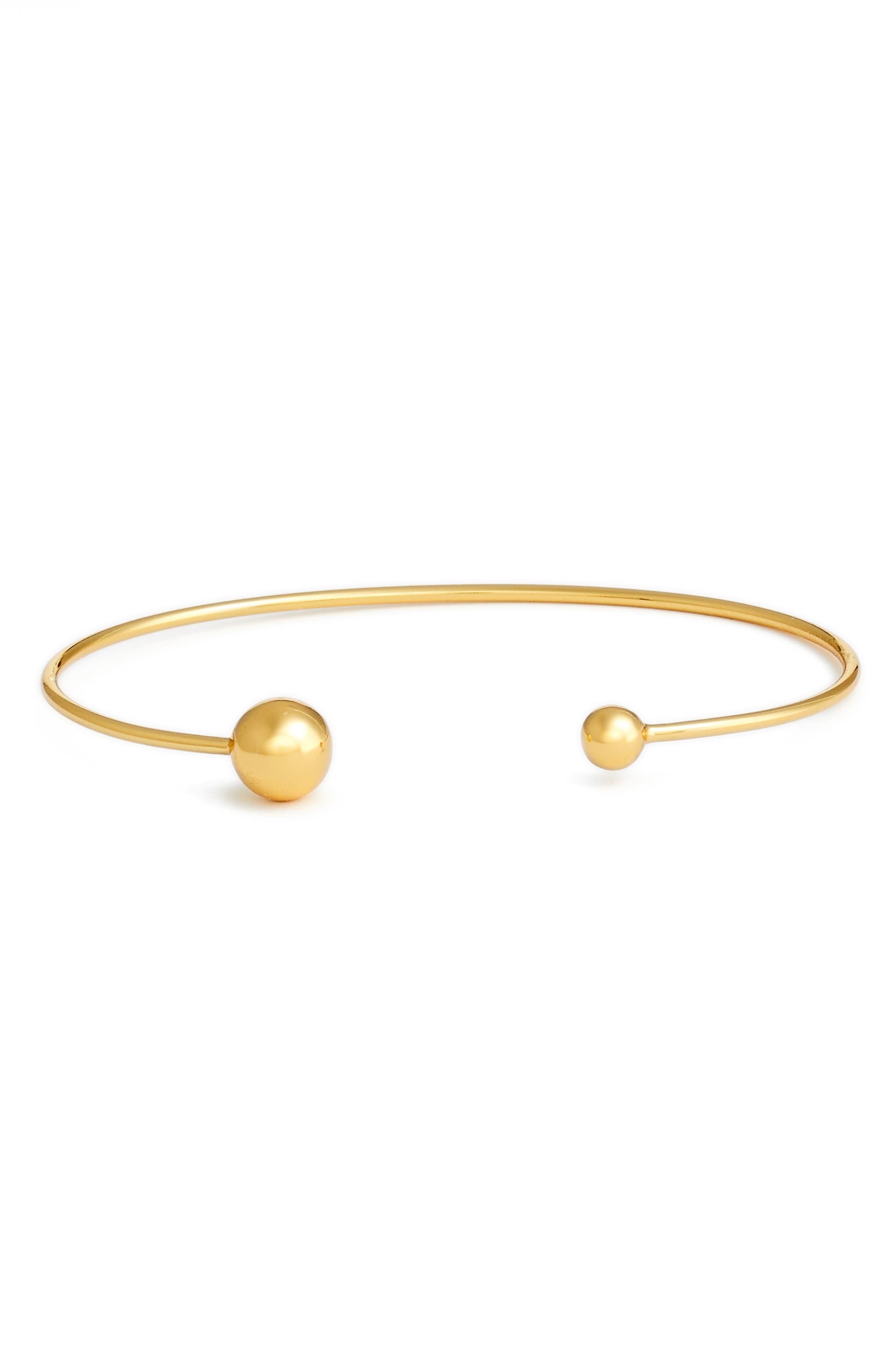 Sphere Open Cuff Bracelet,                         Main,                         color, Gold