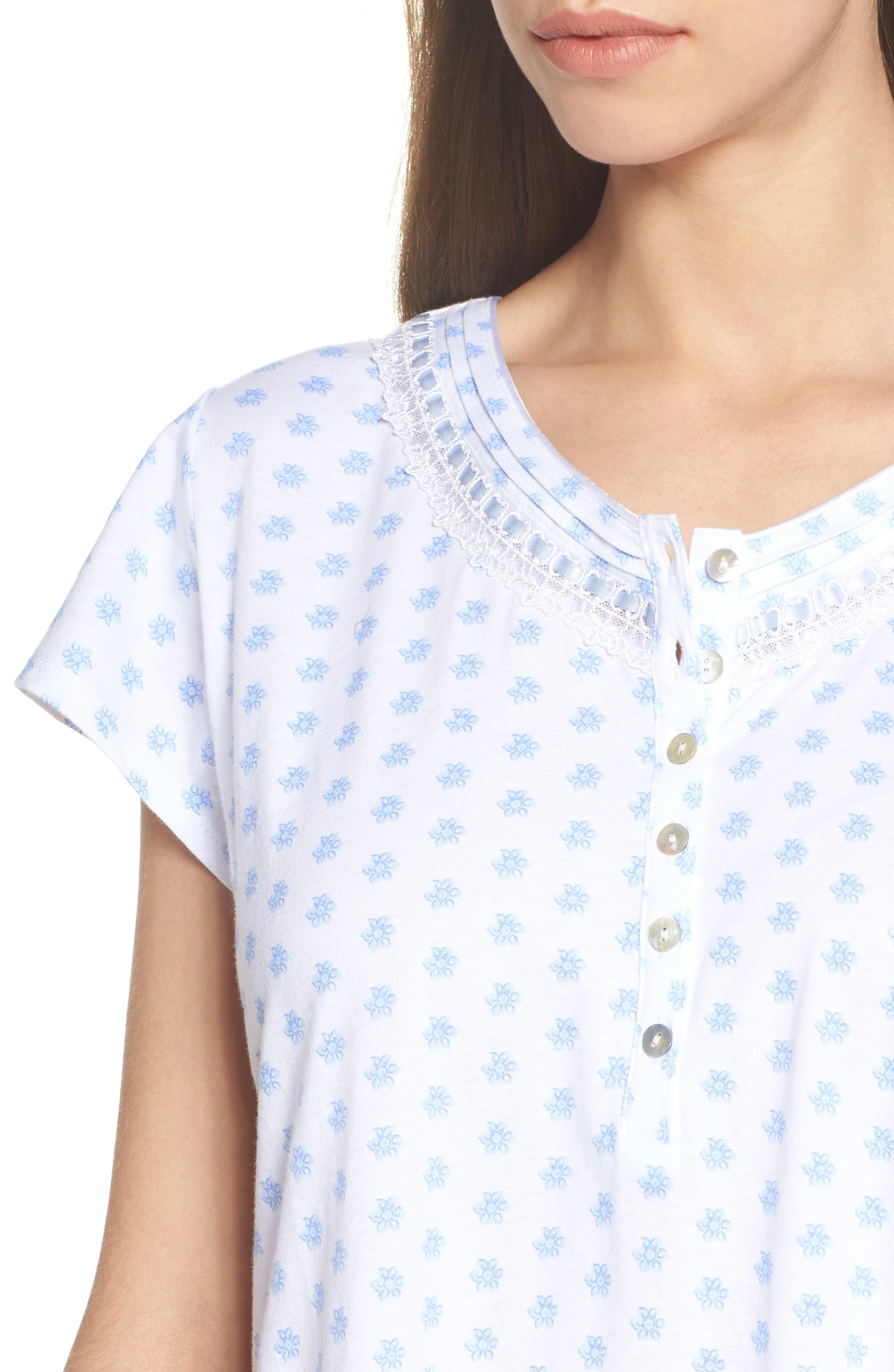 Jersey Sleep Shirt,                             Alternate thumbnail 5, color,                             White Blue Geo