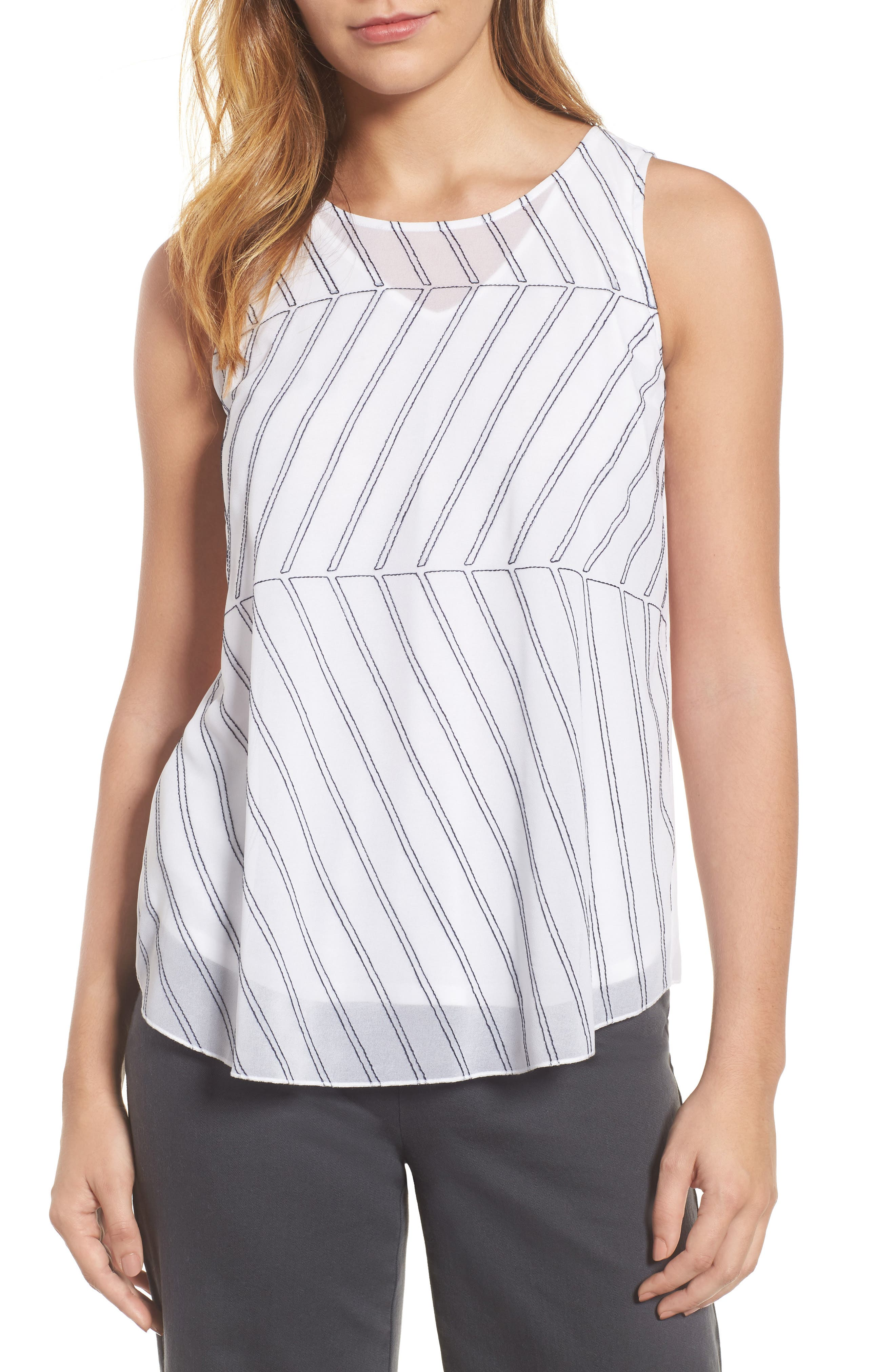 Heat Retreat Layered Tank,                         Main,                         color, Paper White