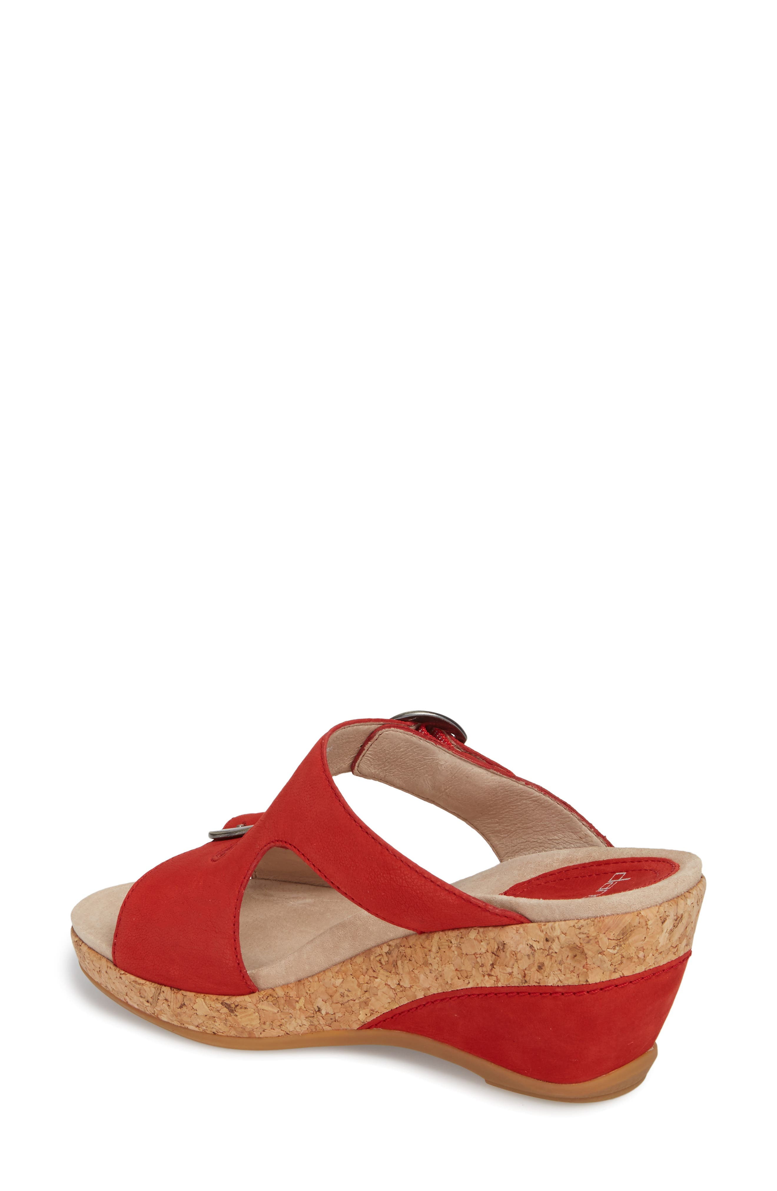 Carla Wedge Slide Sandal,                             Alternate thumbnail 2, color,                             Tomato Milled Nubuck Leather
