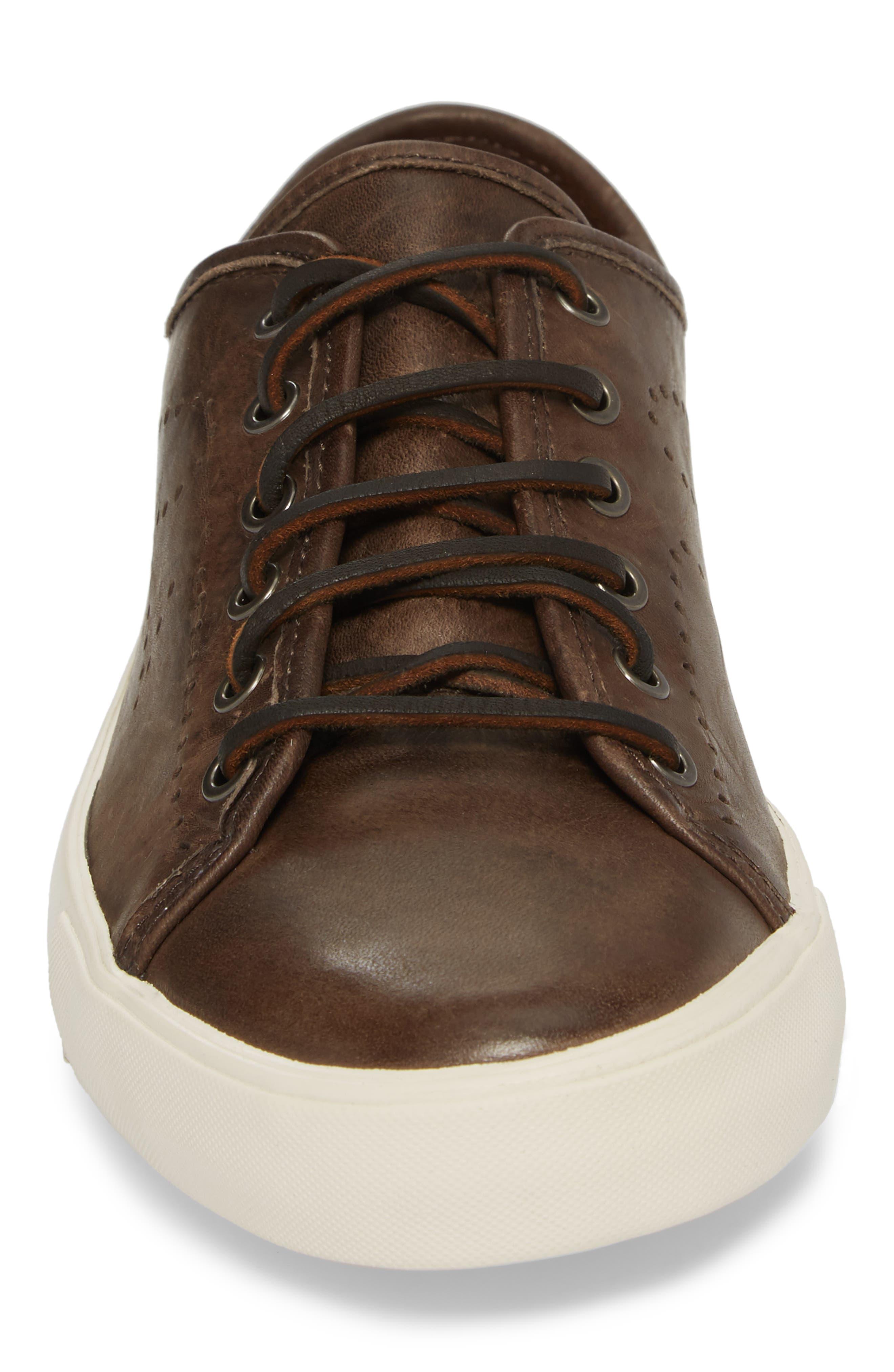 Brett Perforated Logo Low Top Sneaker,                             Alternate thumbnail 4, color,                             Slate Leather