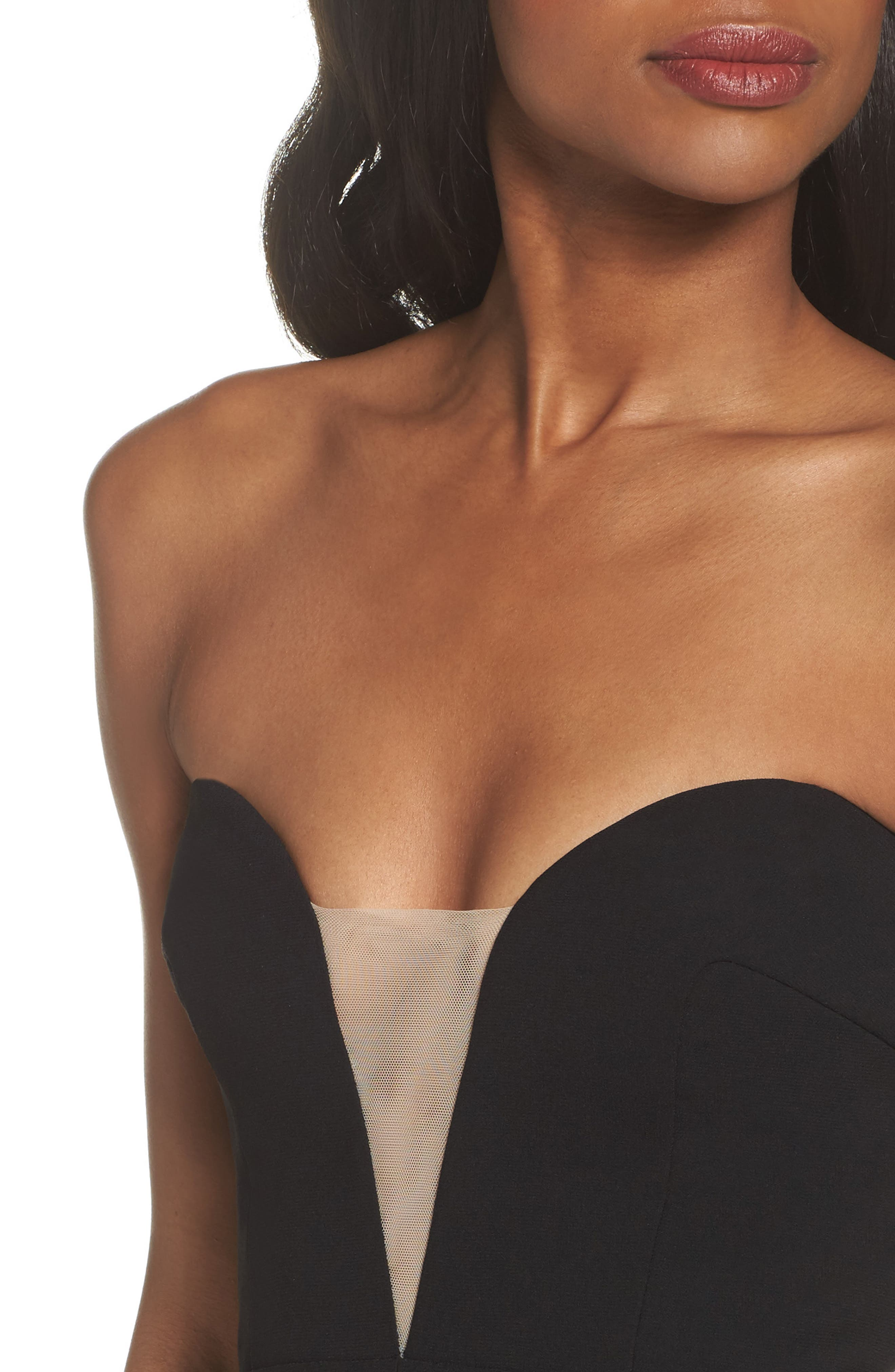 Illusion Inset Strapless Gown,                             Alternate thumbnail 4, color,                             Black