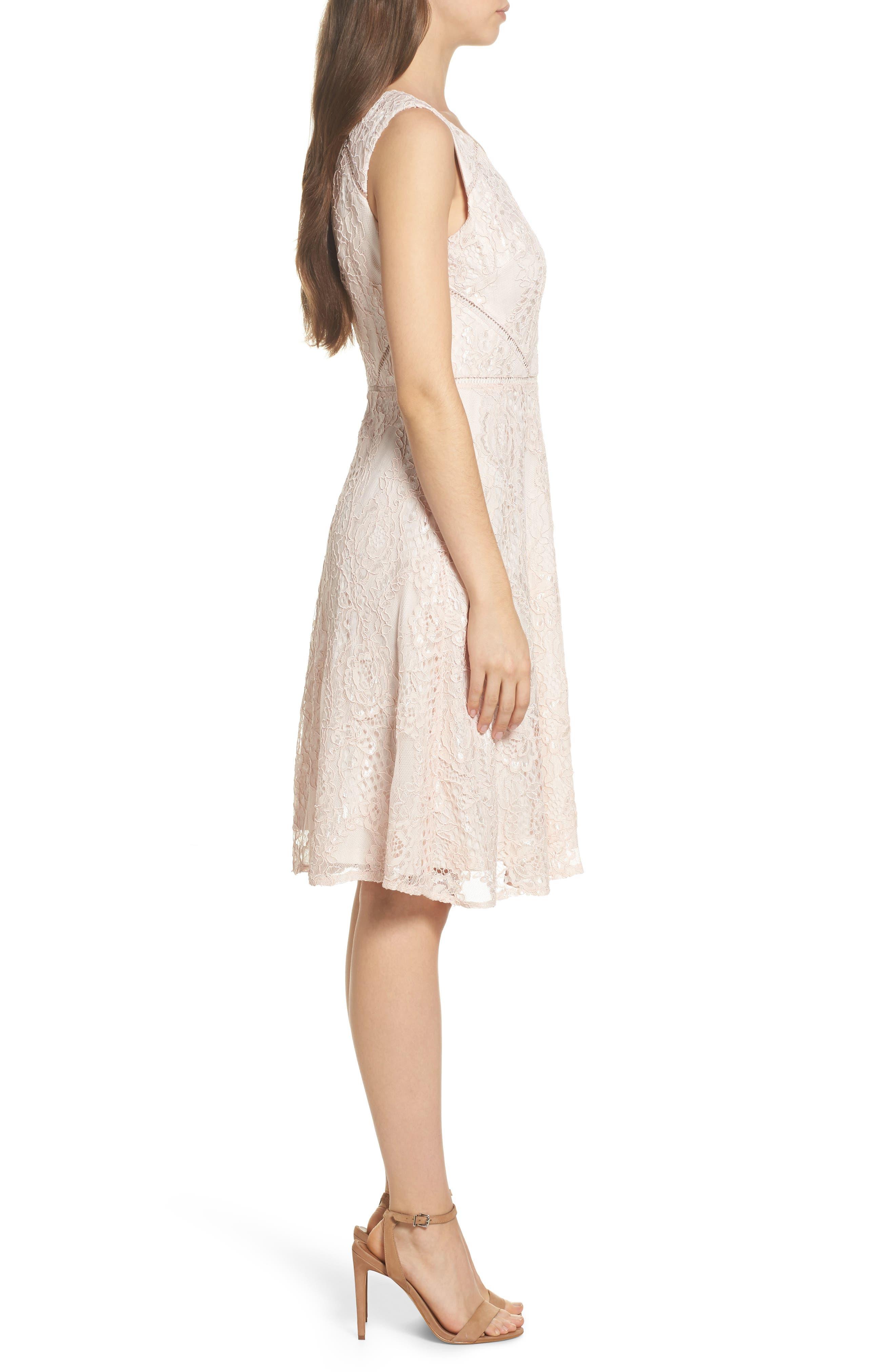 Rose Lace Fit & Flare Dress,                             Alternate thumbnail 3, color,                             Blush/ Almond