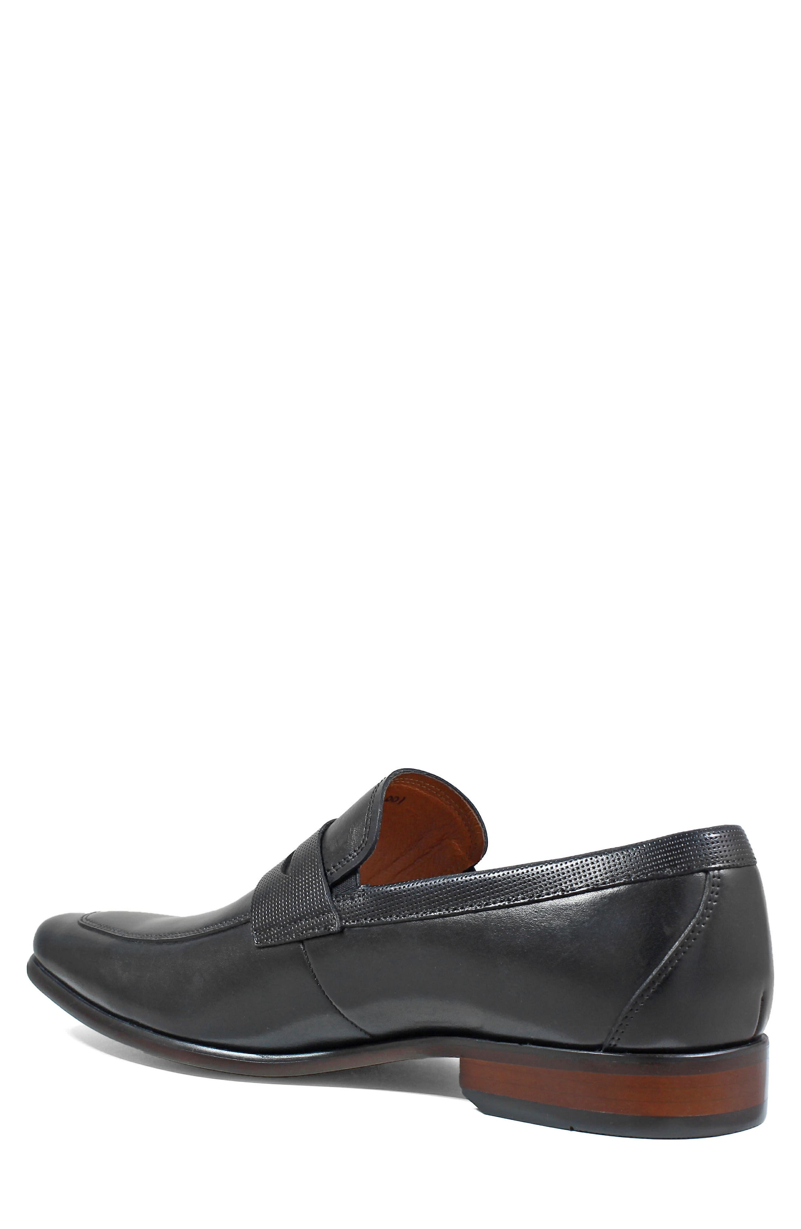 Postino Apron Toe Textured Penny Loafer,                             Alternate thumbnail 2, color,                             Black Leather