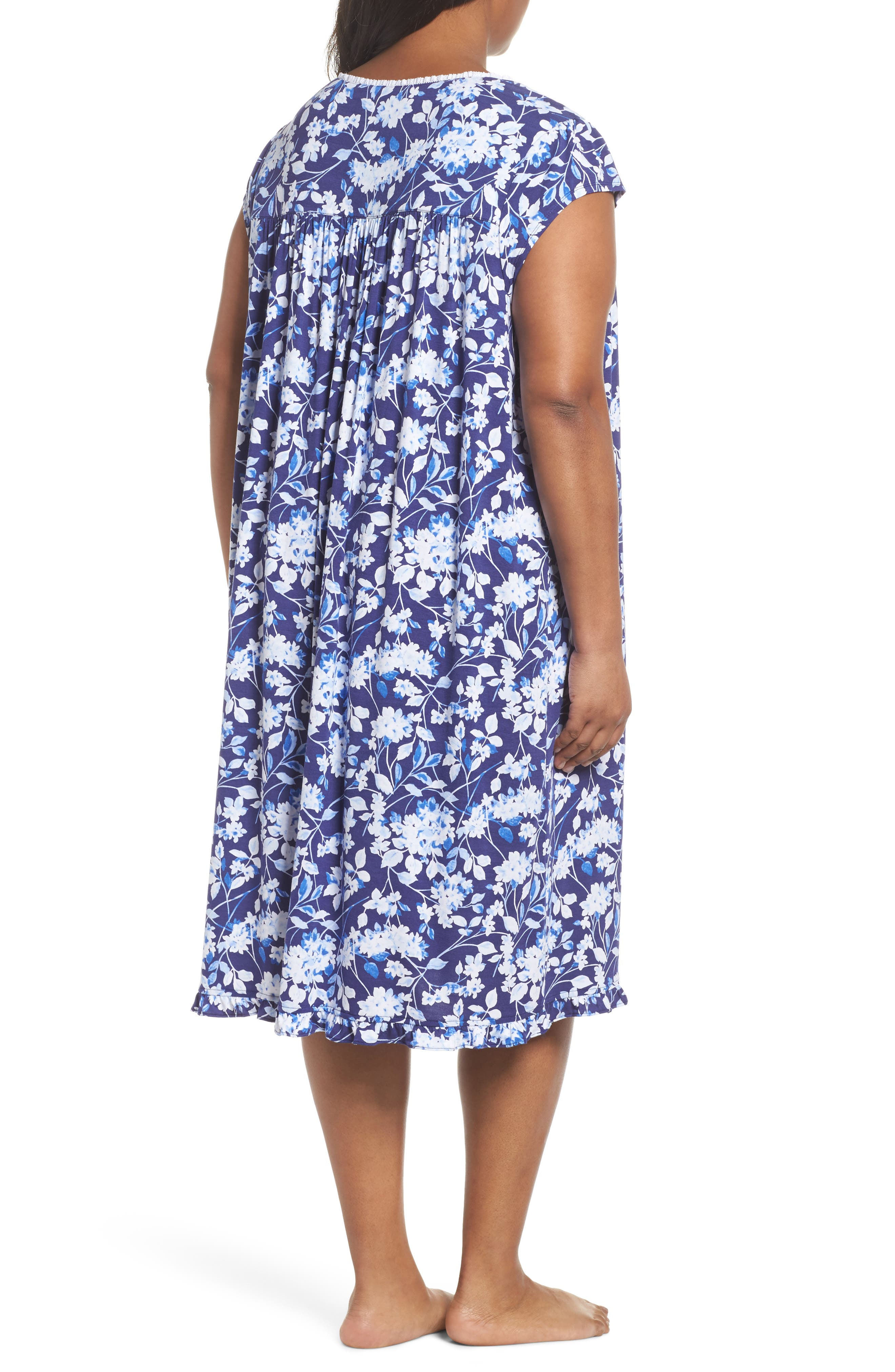 Modal Jersey Waltz Nightgown,                             Alternate thumbnail 2, color,                             Blue Multi Floral