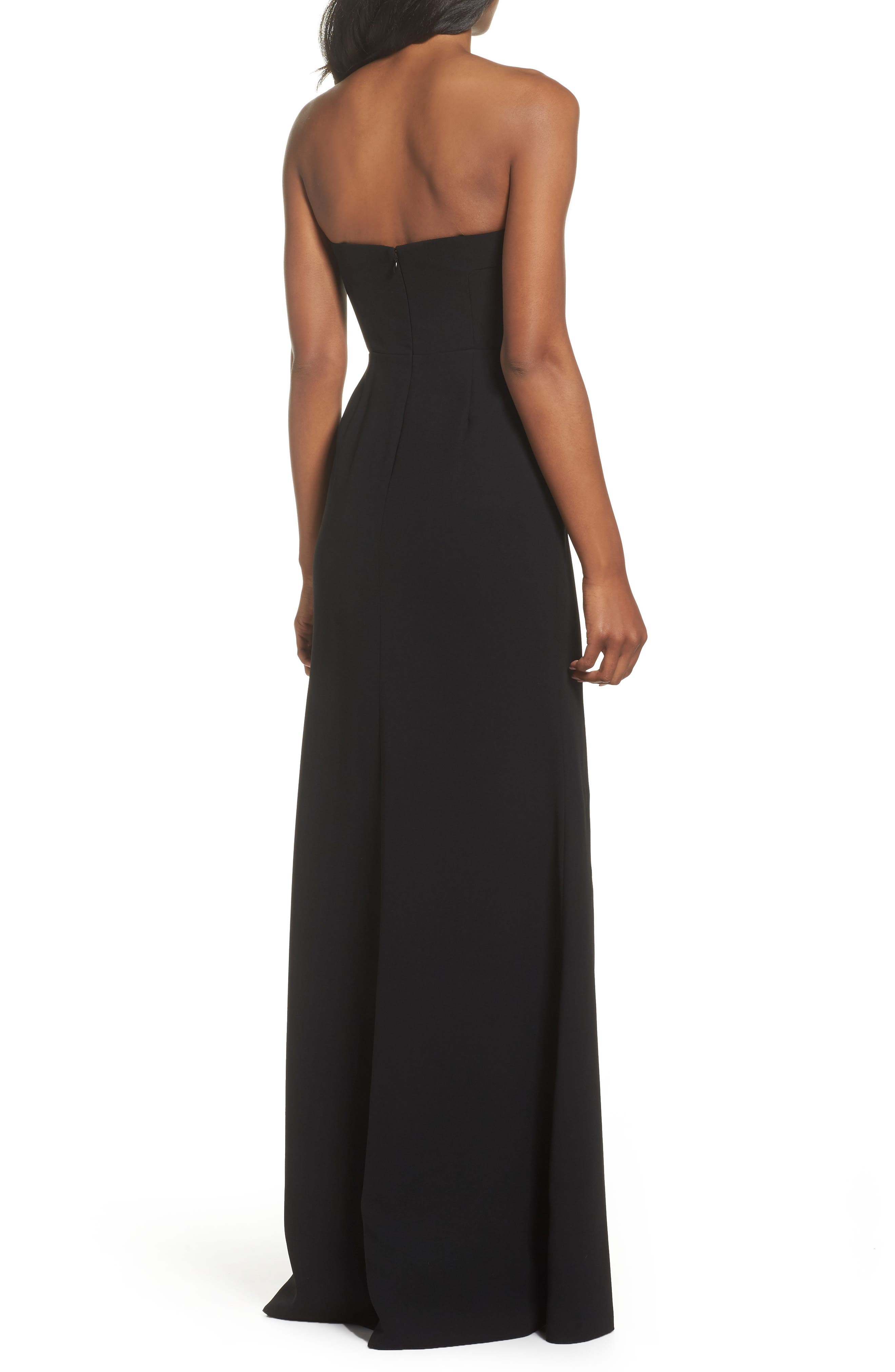 Illusion Inset Strapless Gown,                             Alternate thumbnail 2, color,                             Black