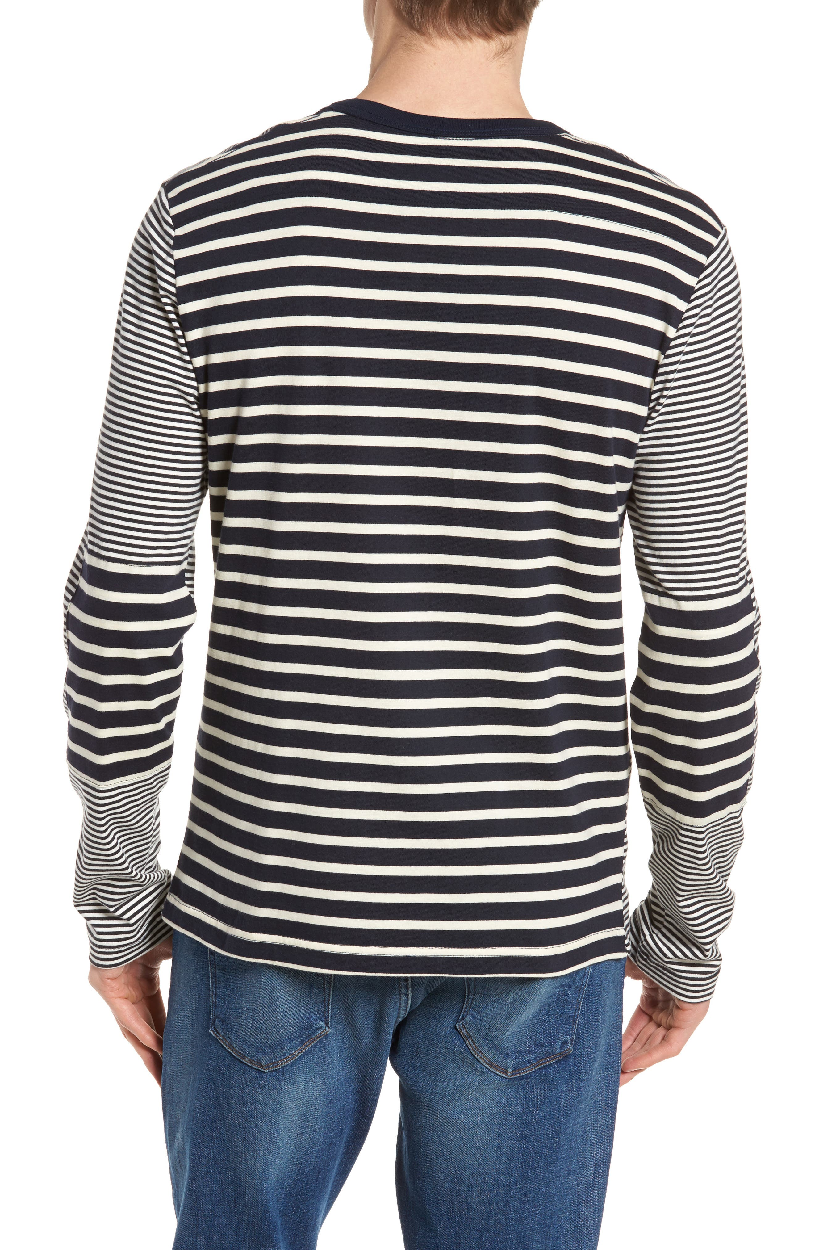 Mix Stripe Long Sleeve T-Shirt,                             Alternate thumbnail 2, color,                             Turtle Dove/ Marine Blue