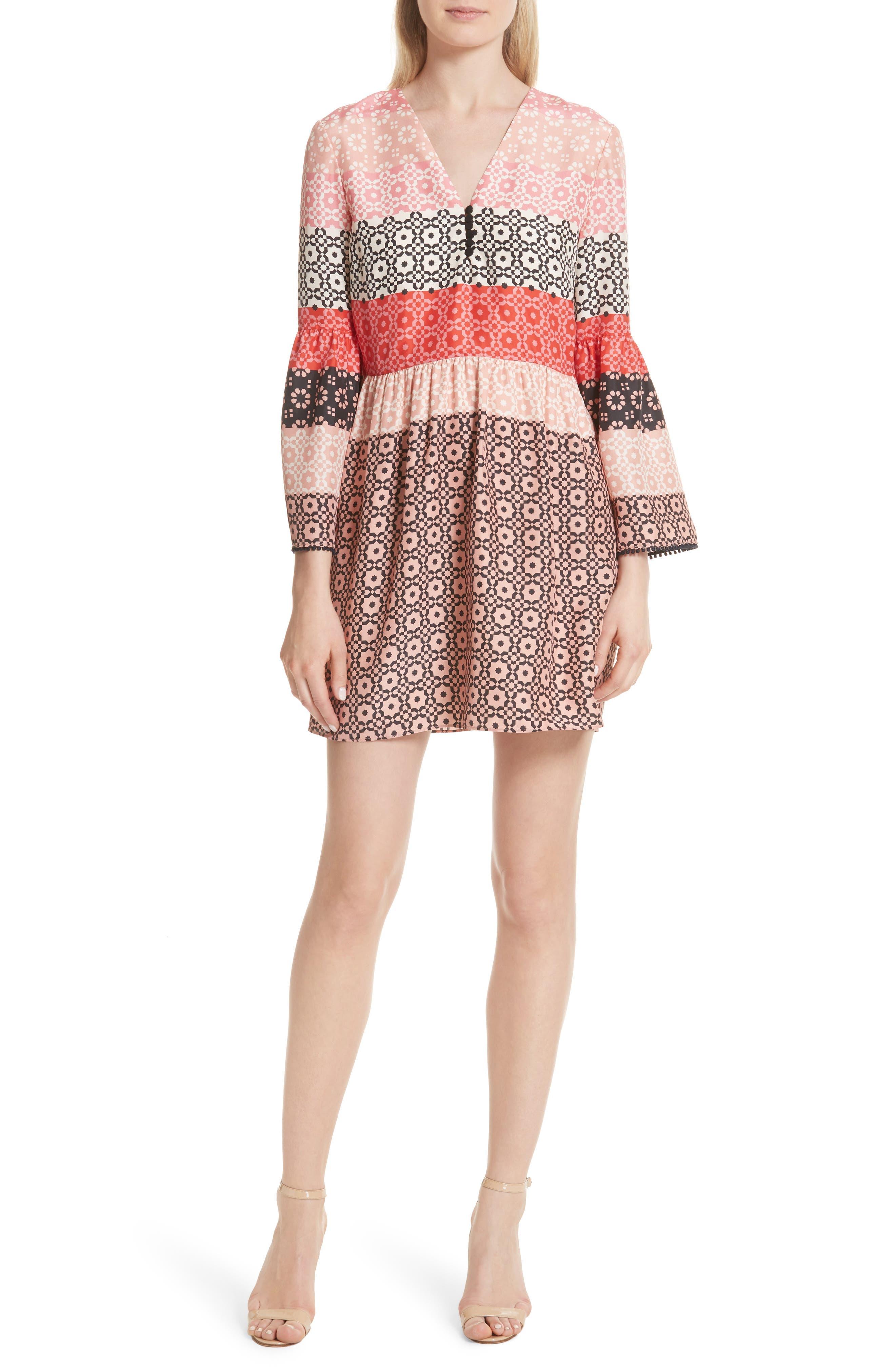 Ruffled Sleeve Print Silk Minidress,                         Main,                         color, Carnation