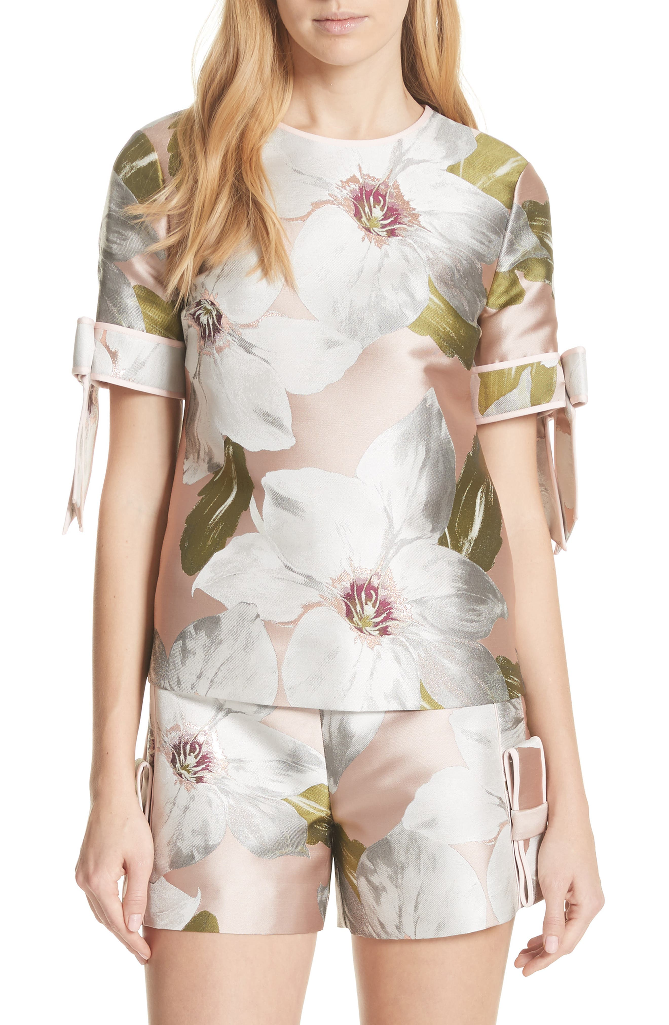 Chatsworth Bloom Bow Sleeve Top,                         Main,                         color, Dusky Pink