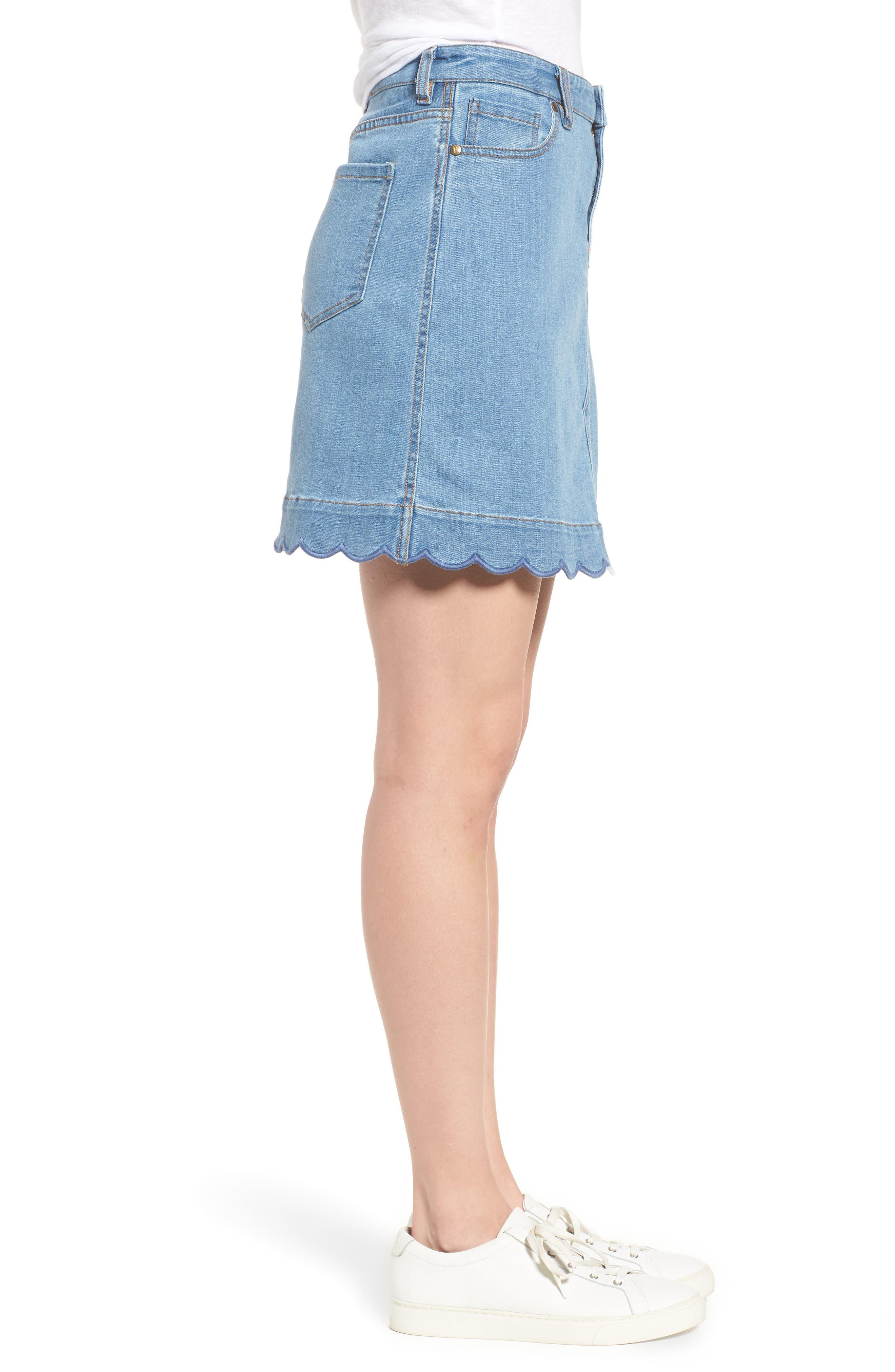 Scallop Denim Skirt,                             Alternate thumbnail 3, color,                             Blue