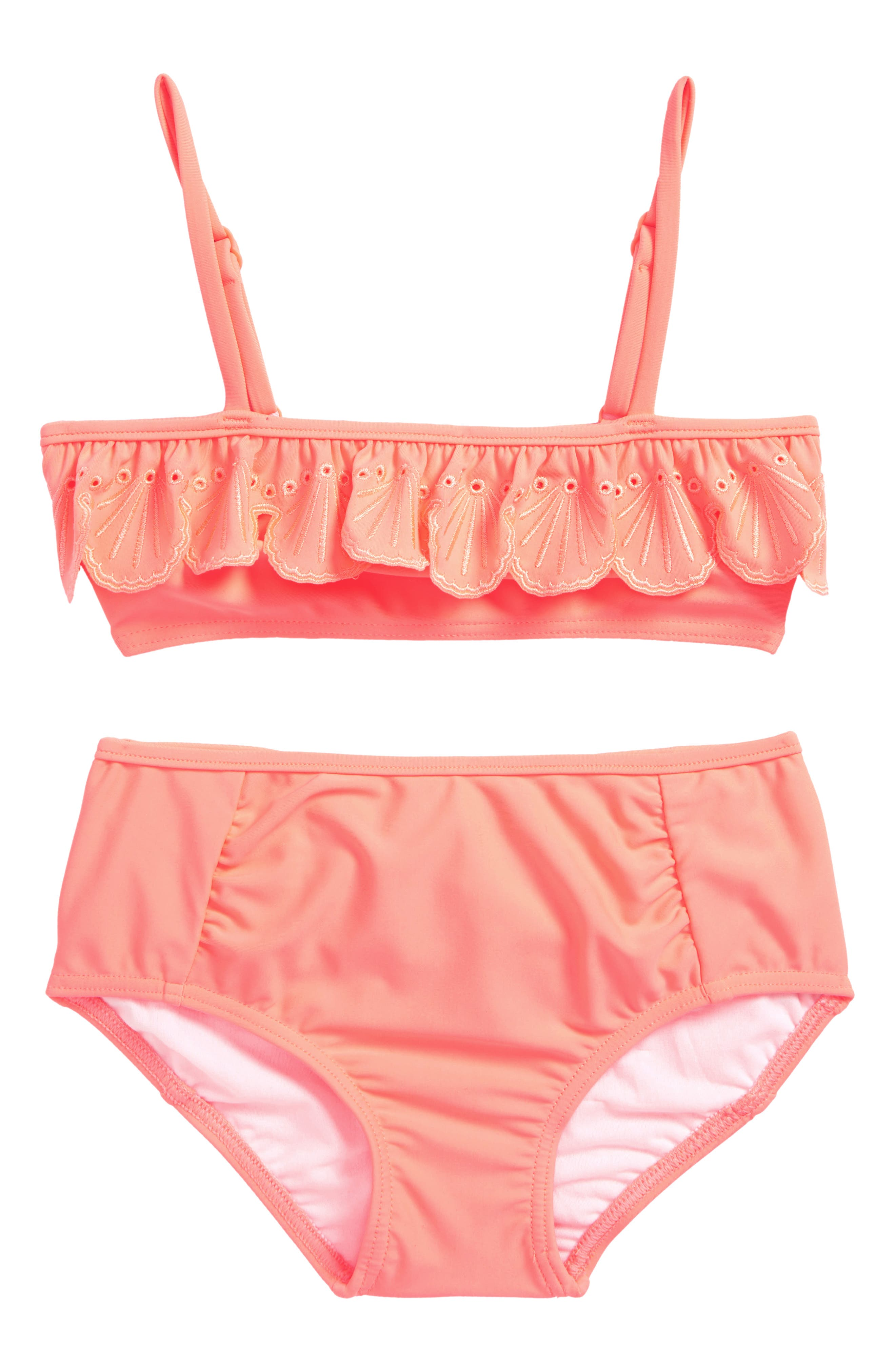 Sweet Summer Frill Two-Piece Swimsuit,                         Main,                         color, Fusion Coral