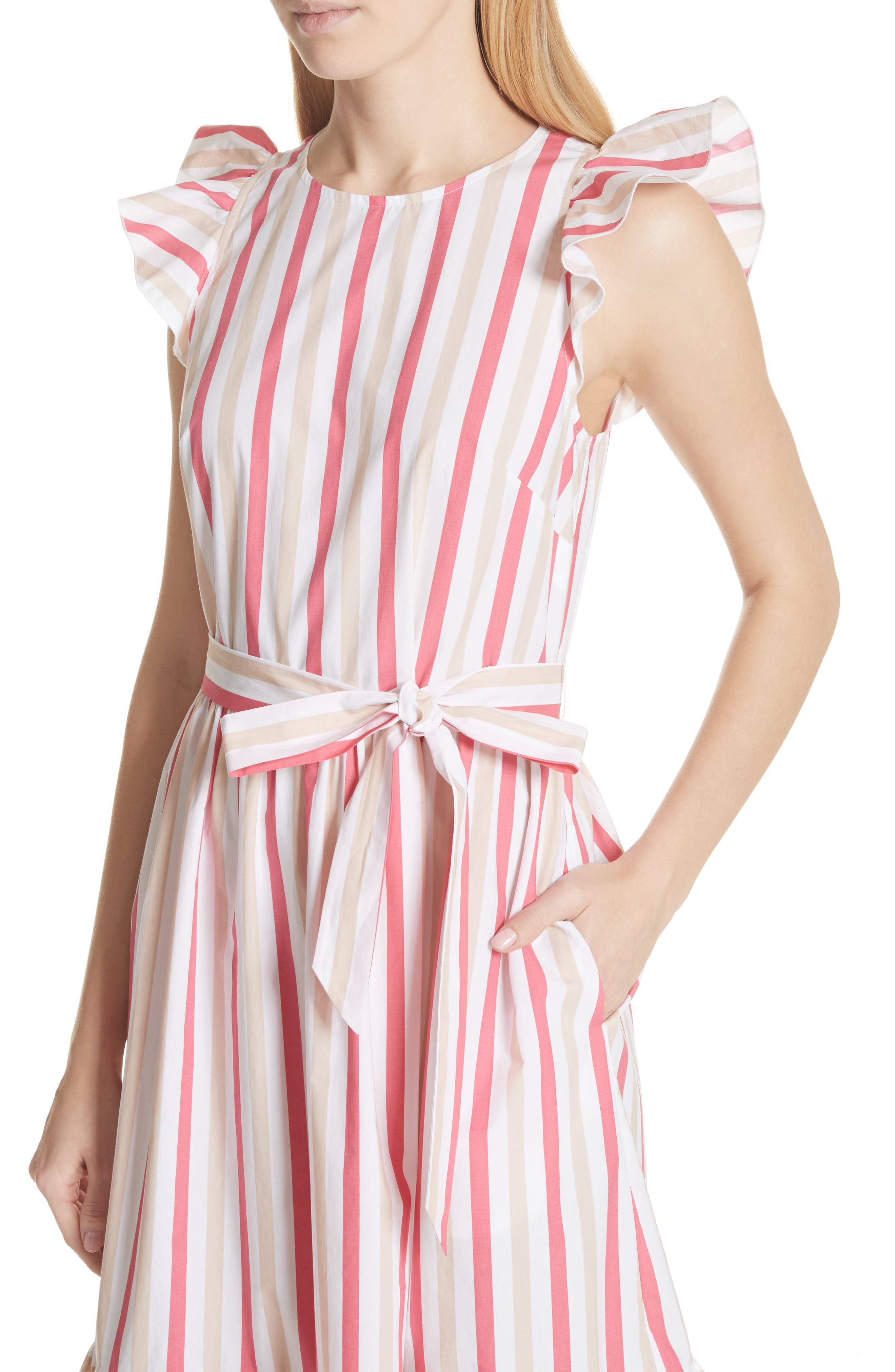 stripe poplin midi dress,                             Alternate thumbnail 4, color,                             Peach Sherbet