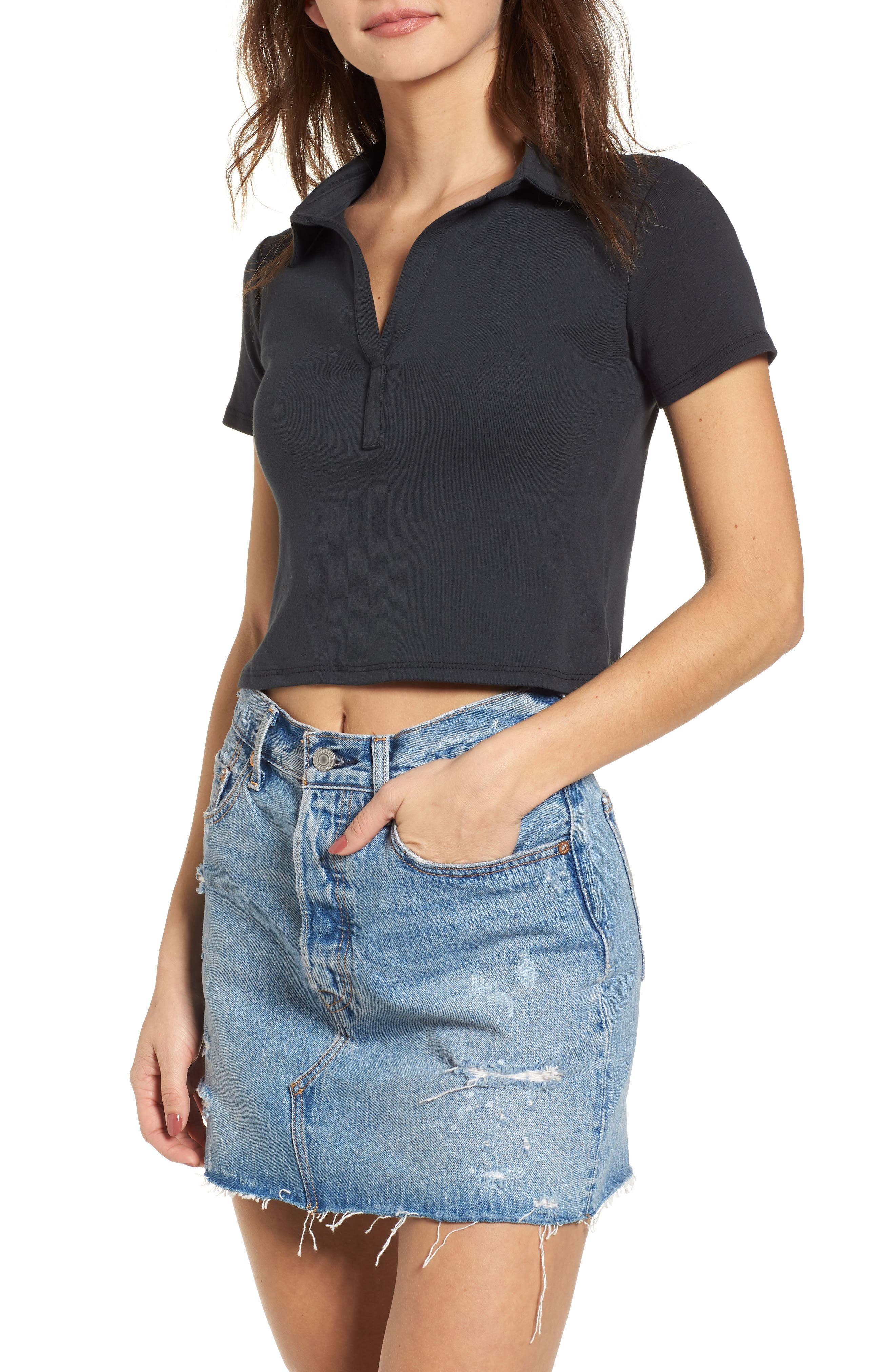 Crop Polo,                             Main thumbnail 1, color,                             Black Onyx