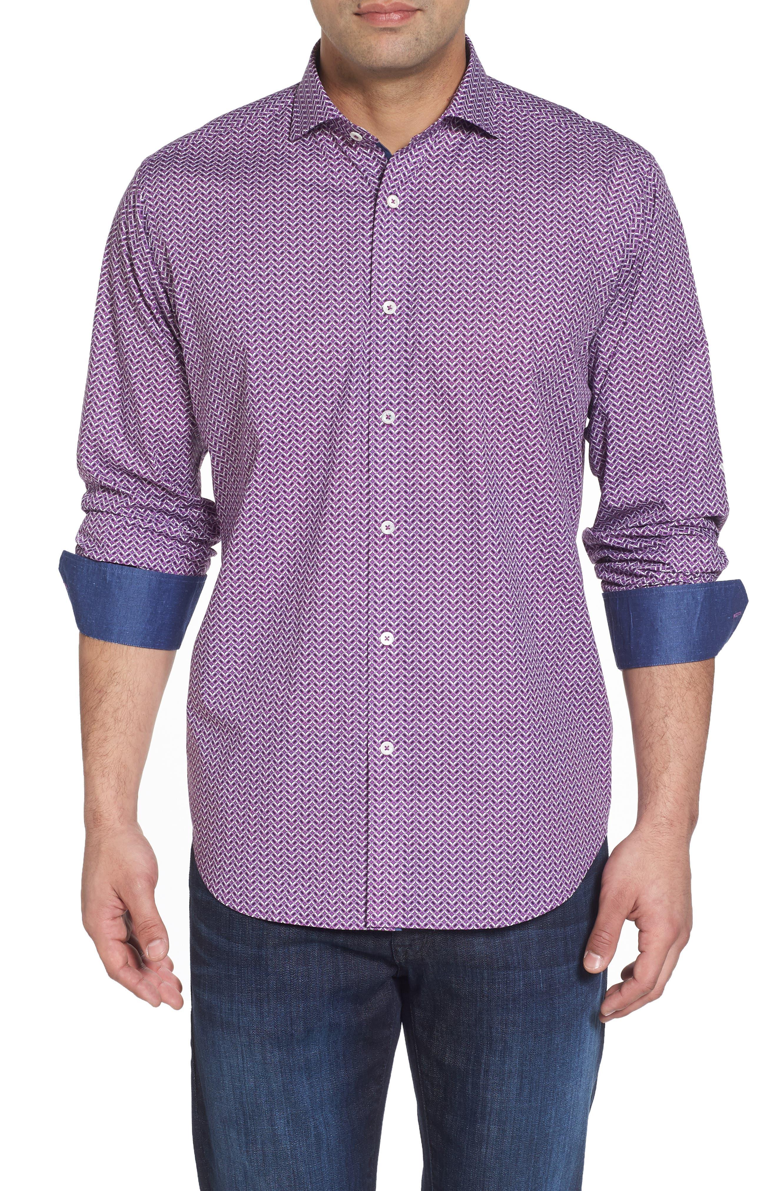 Classic Fit Print Sport Shirt,                         Main,                         color, Plum