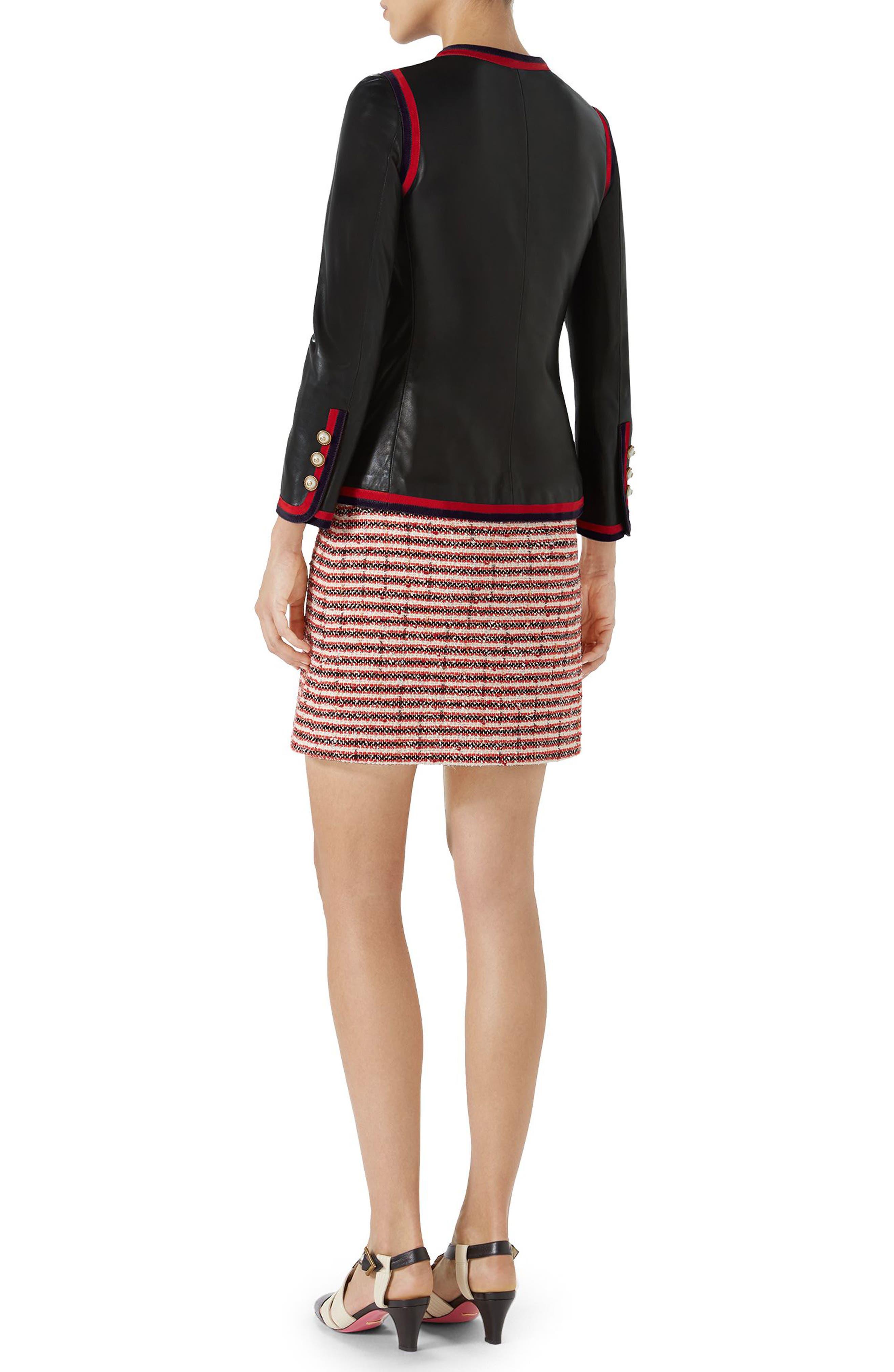 Ribbon Trim Nappa Leather Jacket,                             Alternate thumbnail 4, color,                             Black