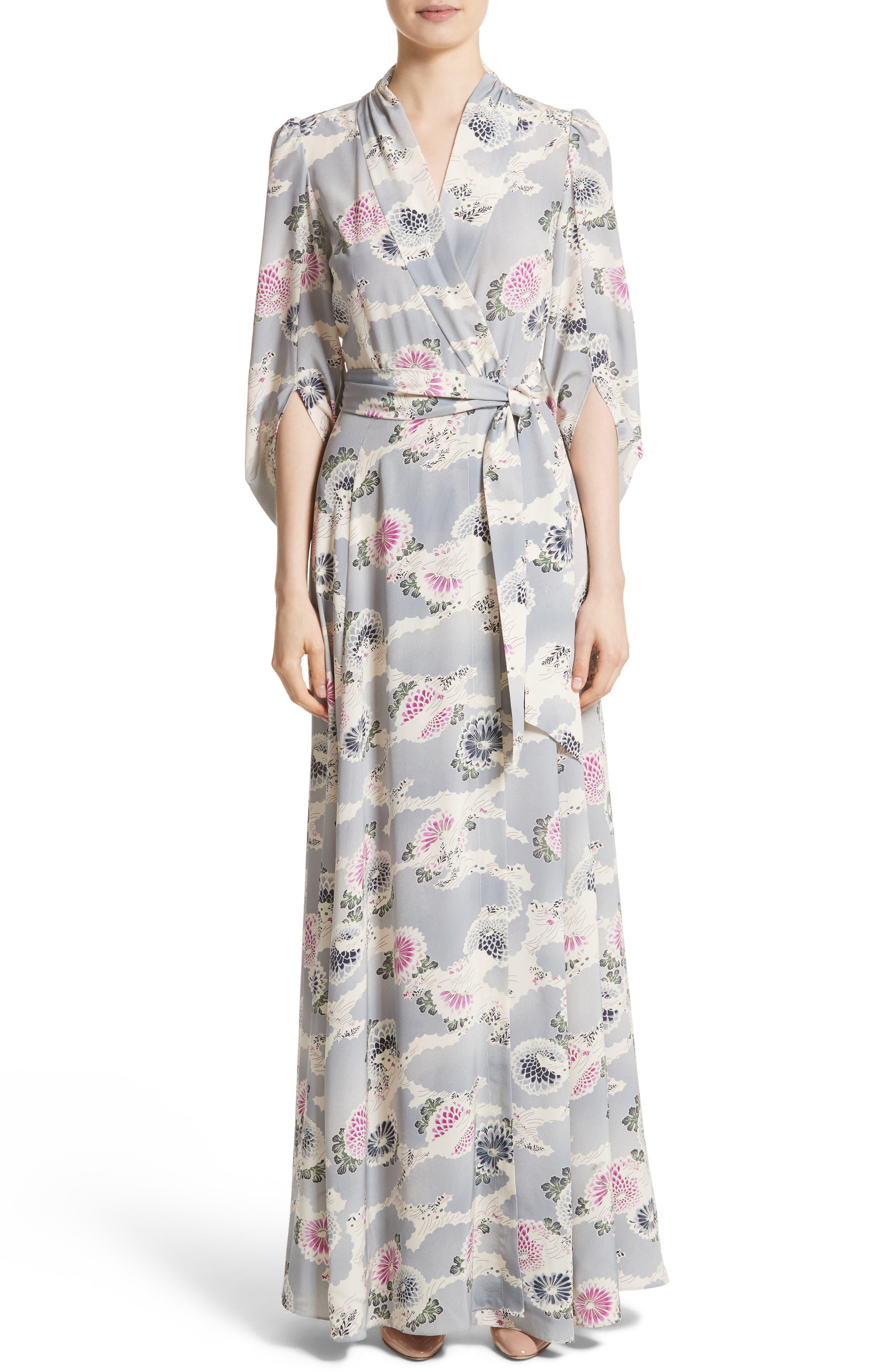 Floral Print Silk Crêpe de Chine Maxi Wrap Dress,                         Main,                         color, Chrysanthemum Print