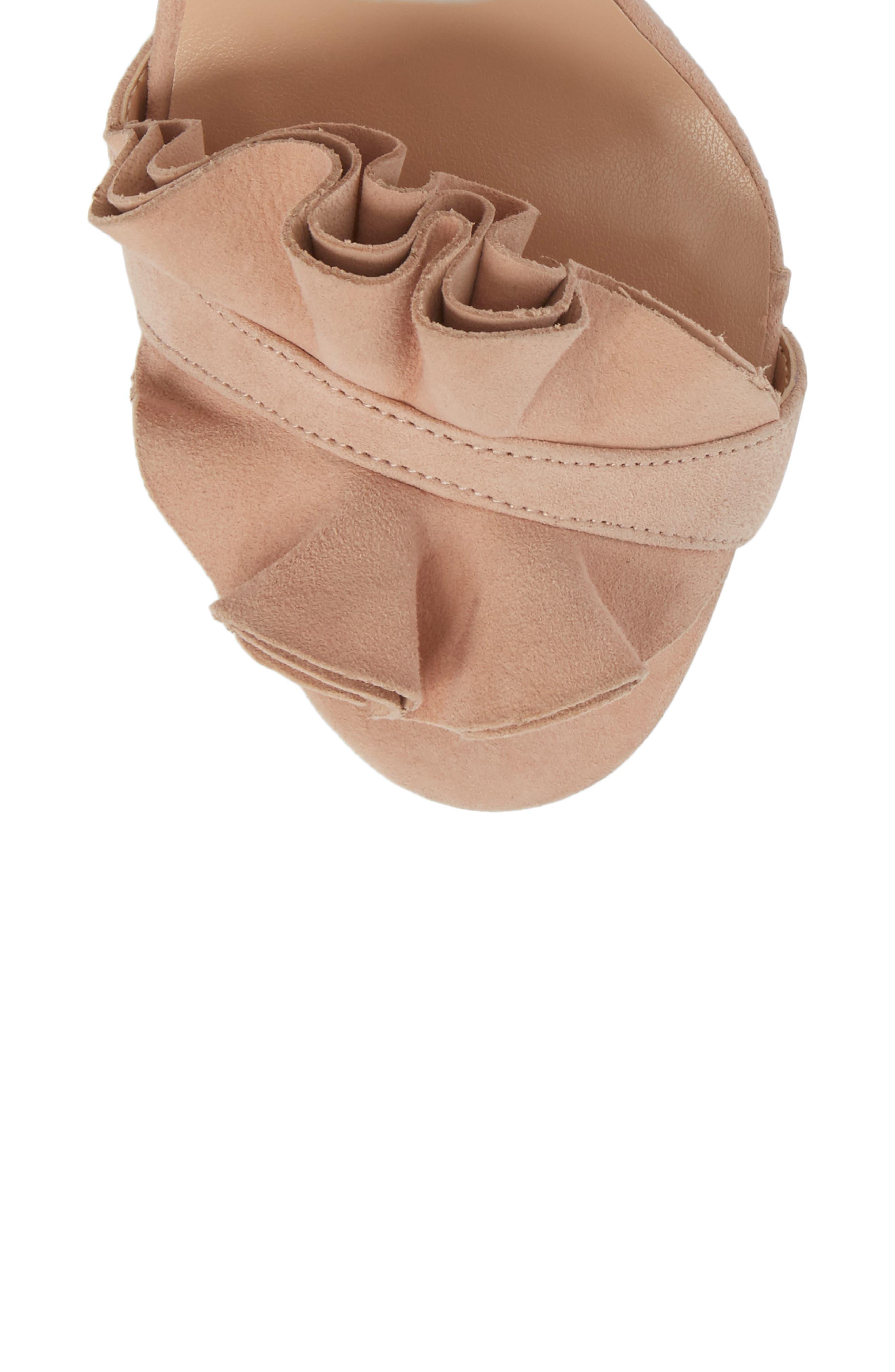 Kalipso Ruffled Wraparound Sandal,                             Alternate thumbnail 4, color,                             Blush Suede