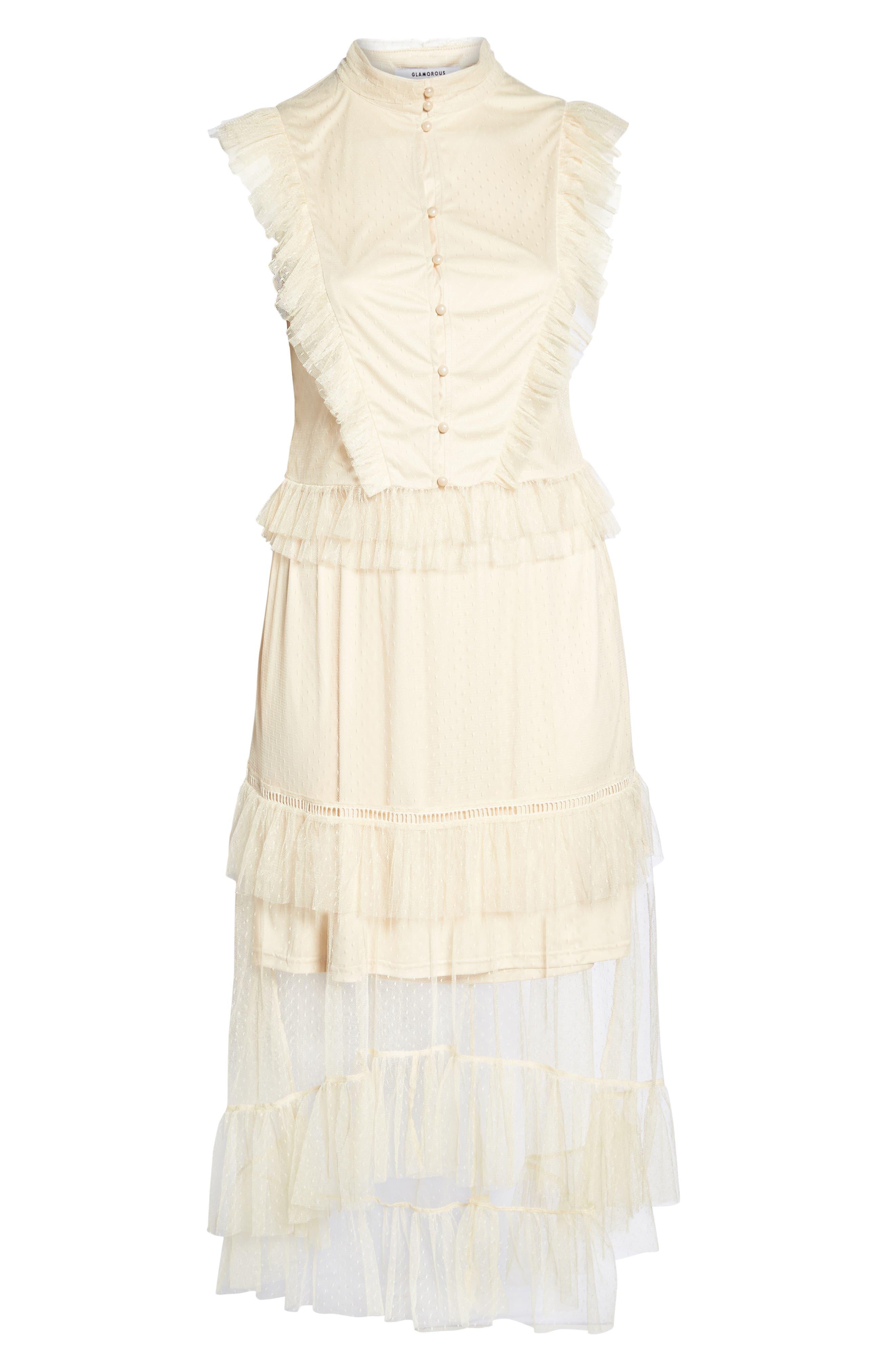 Ruffle Sheer Hem Maxi Dress,                             Alternate thumbnail 6, color,                             Cream