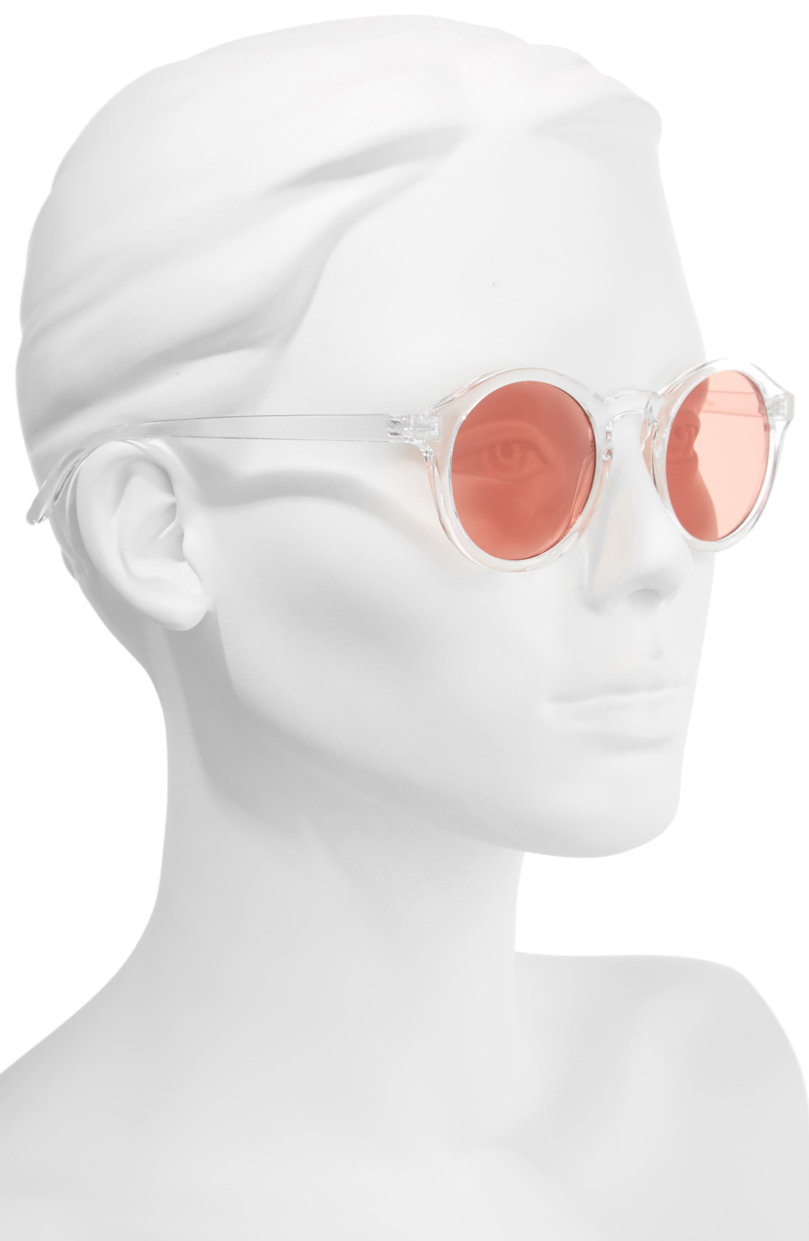 45mm Clear Plastic Small Round Sunglasses,                             Alternate thumbnail 2, color,                             Clear/ Red