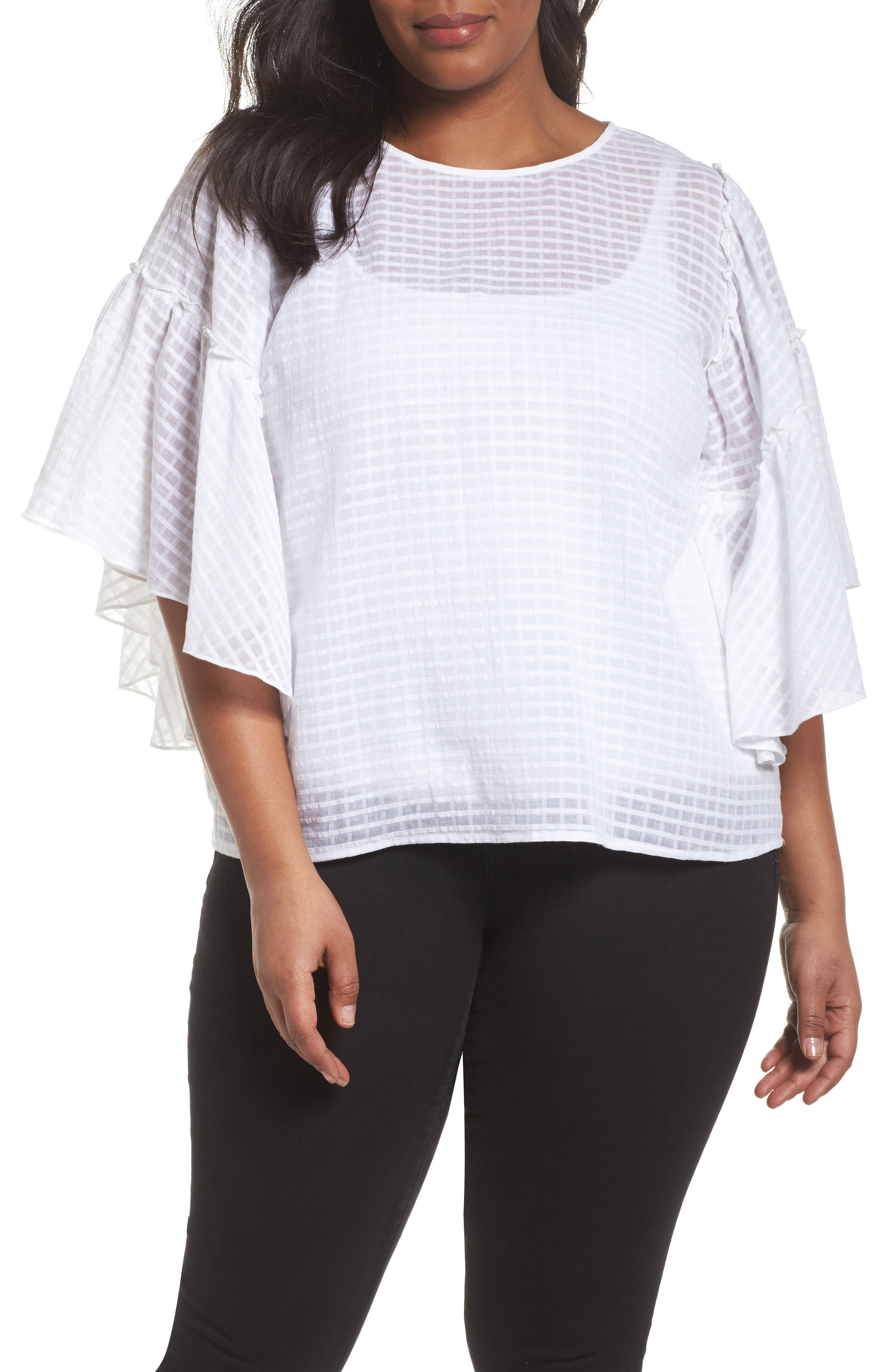 Textured Grid Ruffle Drop Shoulder Blouse,                         Main,                         color, Ultra White