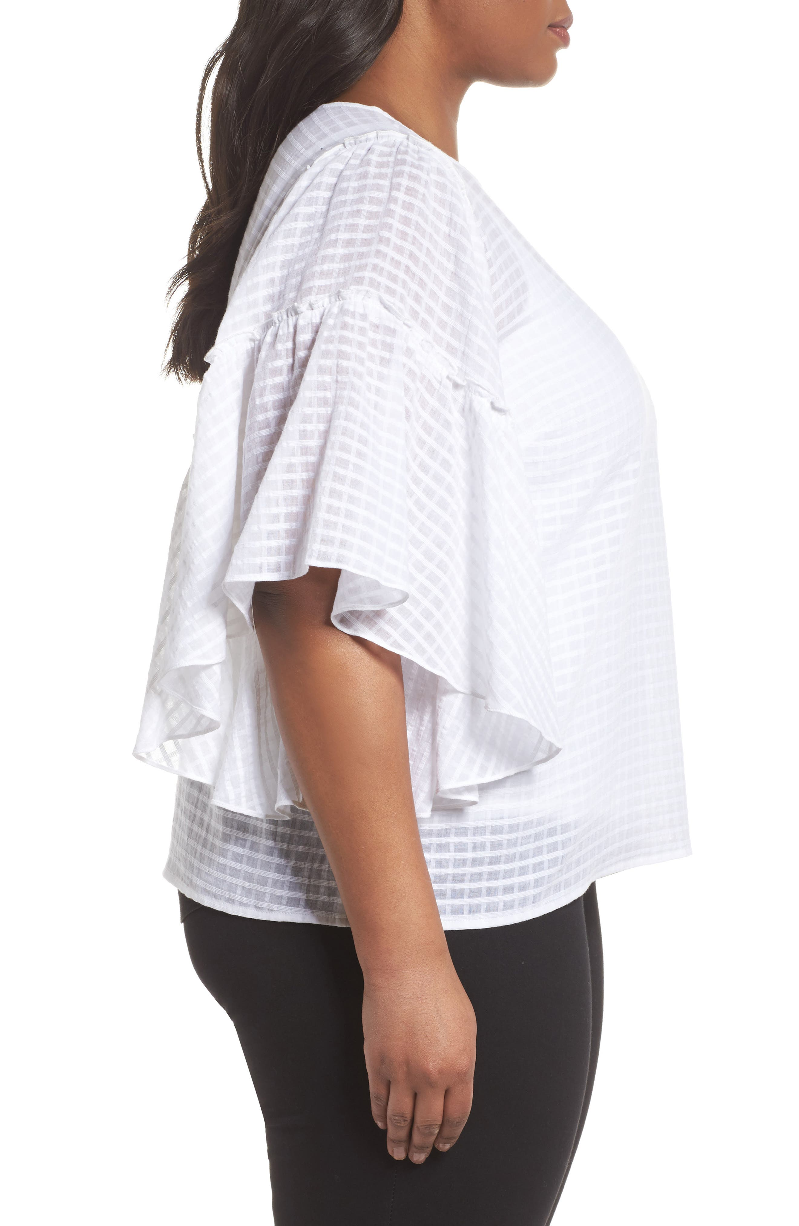 Textured Grid Ruffle Drop Shoulder Blouse,                             Alternate thumbnail 3, color,                             Ultra White