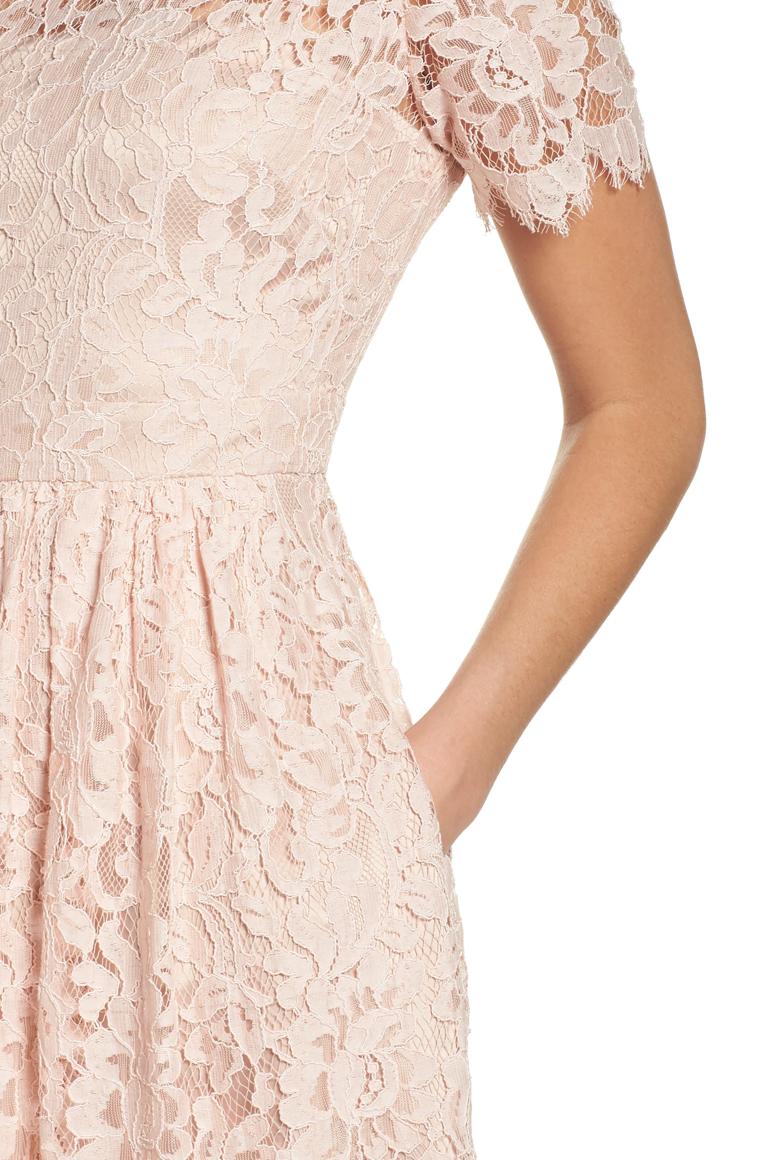 Lace Fit & Flare Dress,                             Alternate thumbnail 4, color,                             Peach
