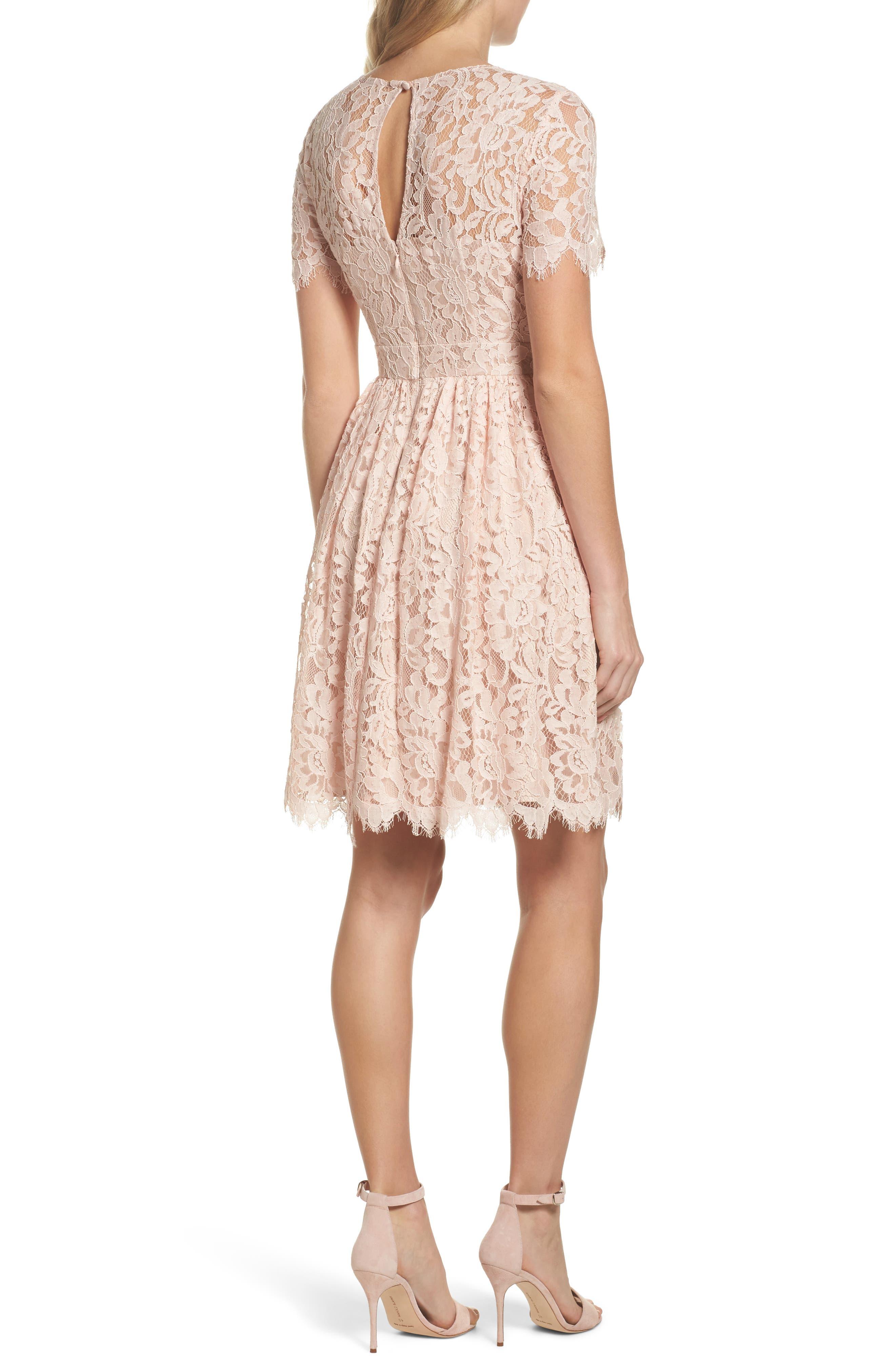 Lace Fit & Flare Dress,                             Alternate thumbnail 2, color,                             Peach