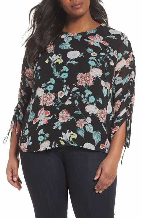 Vince Camuto Floral Gardens Drawstring Sleeve Blouse (Plus Size)