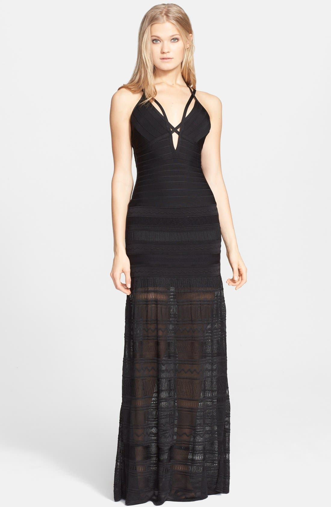 Main Image - Herve Leger Mixed Stitch Bandage Gown