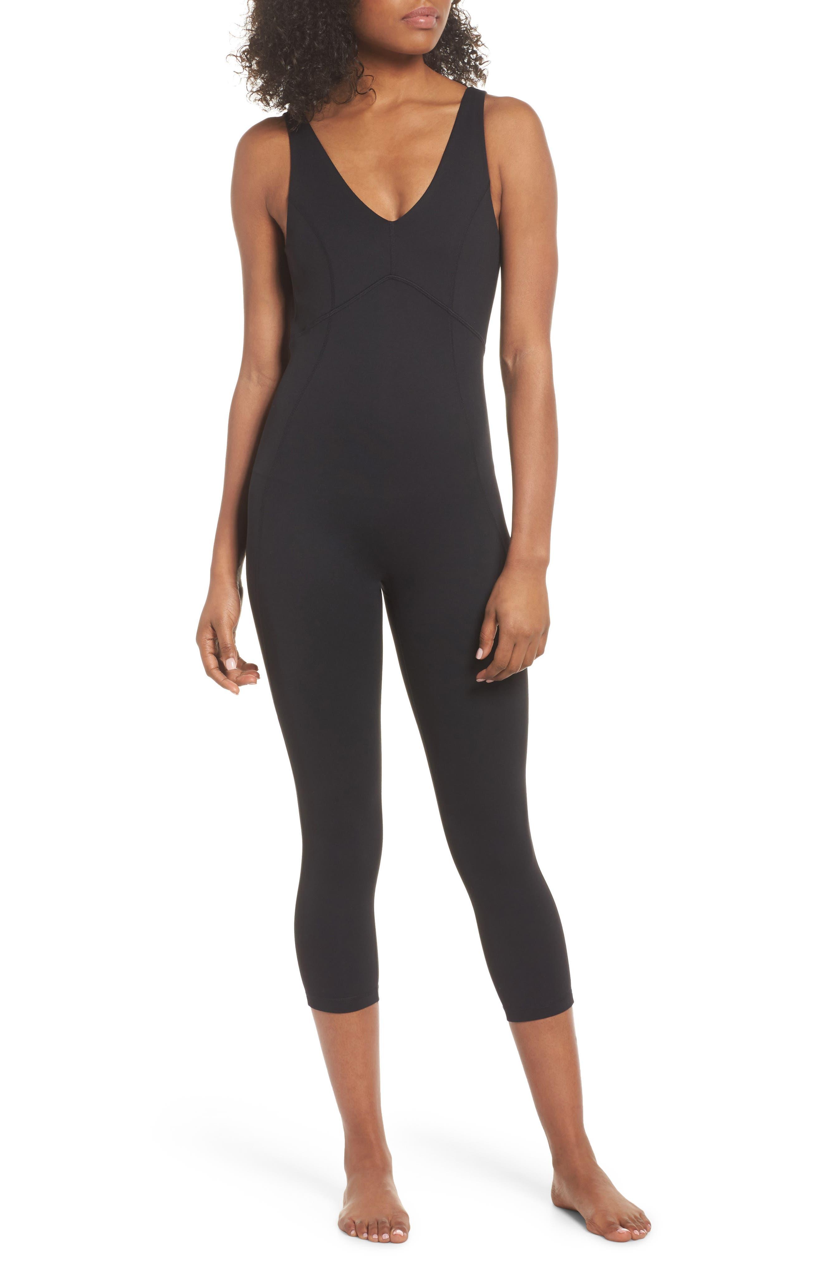 Lighten Up Crop Bodysuit,                             Main thumbnail 1, color,                             Black