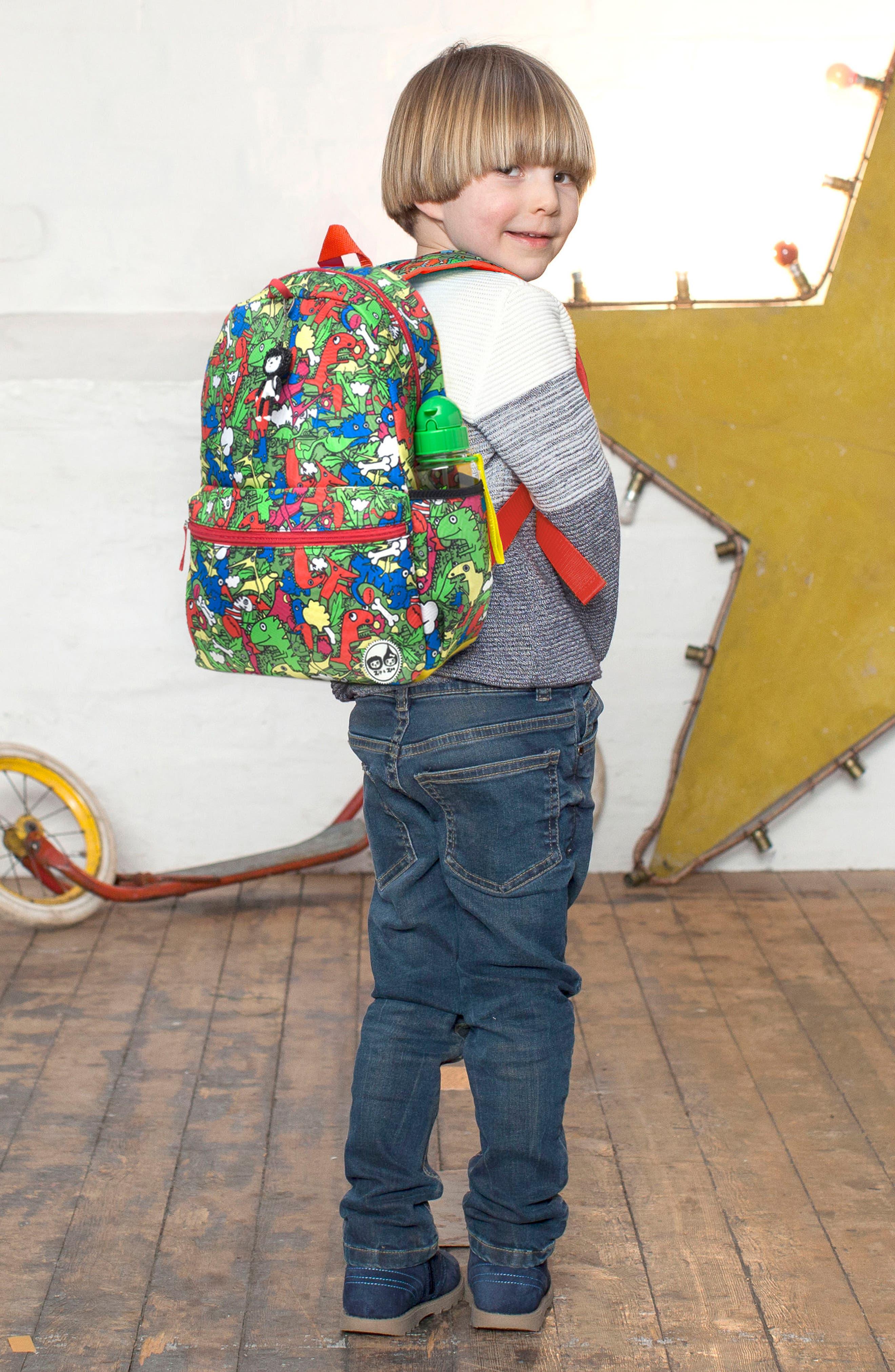 Zip & Zoe Dino Junior Backpack,                             Alternate thumbnail 8, color,                             Dino