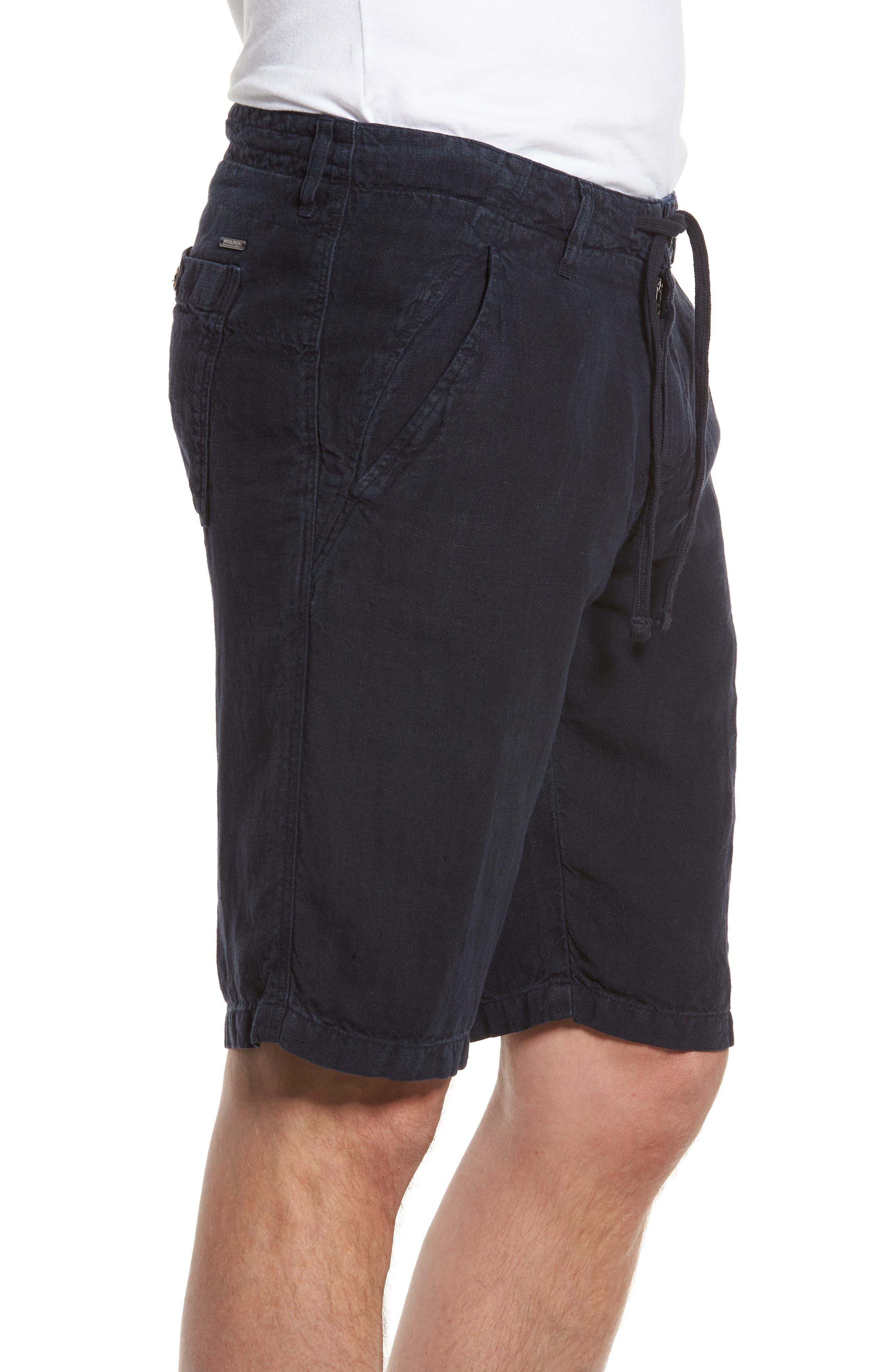 & Bros. Linen Shorts,                             Alternate thumbnail 3, color,                             Alpine Navy