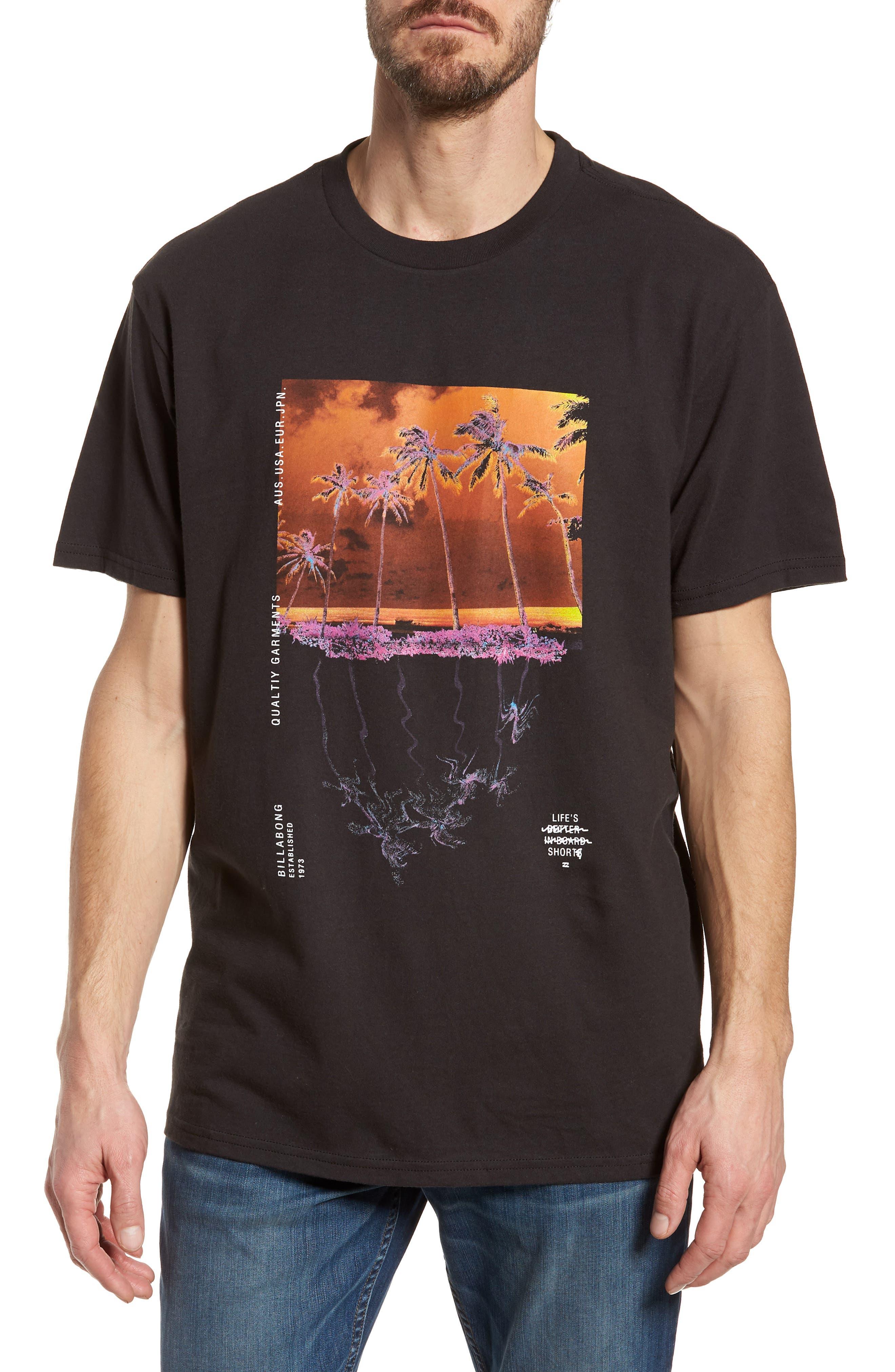 Wavy Graphic T-Shirt,                             Main thumbnail 1, color,                             Black