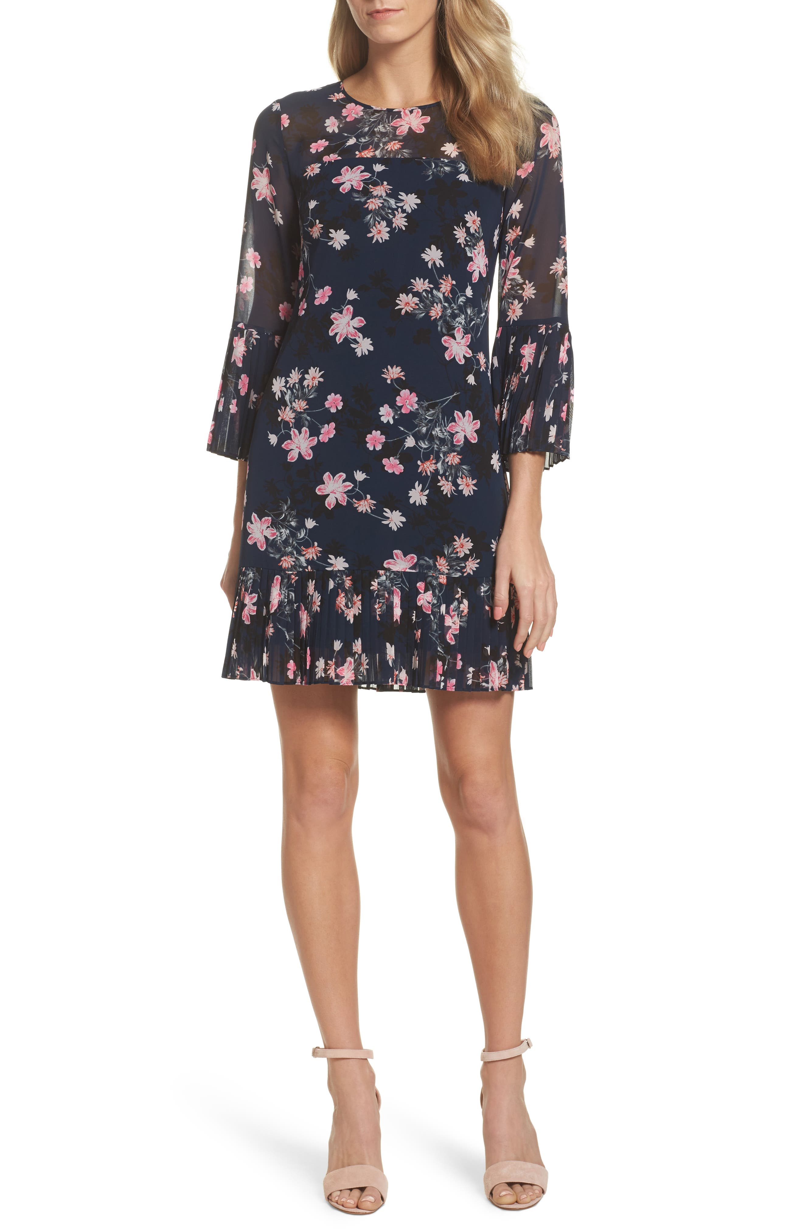 Floral Print Bell Sleeve Dress,                         Main,                         color, Navy
