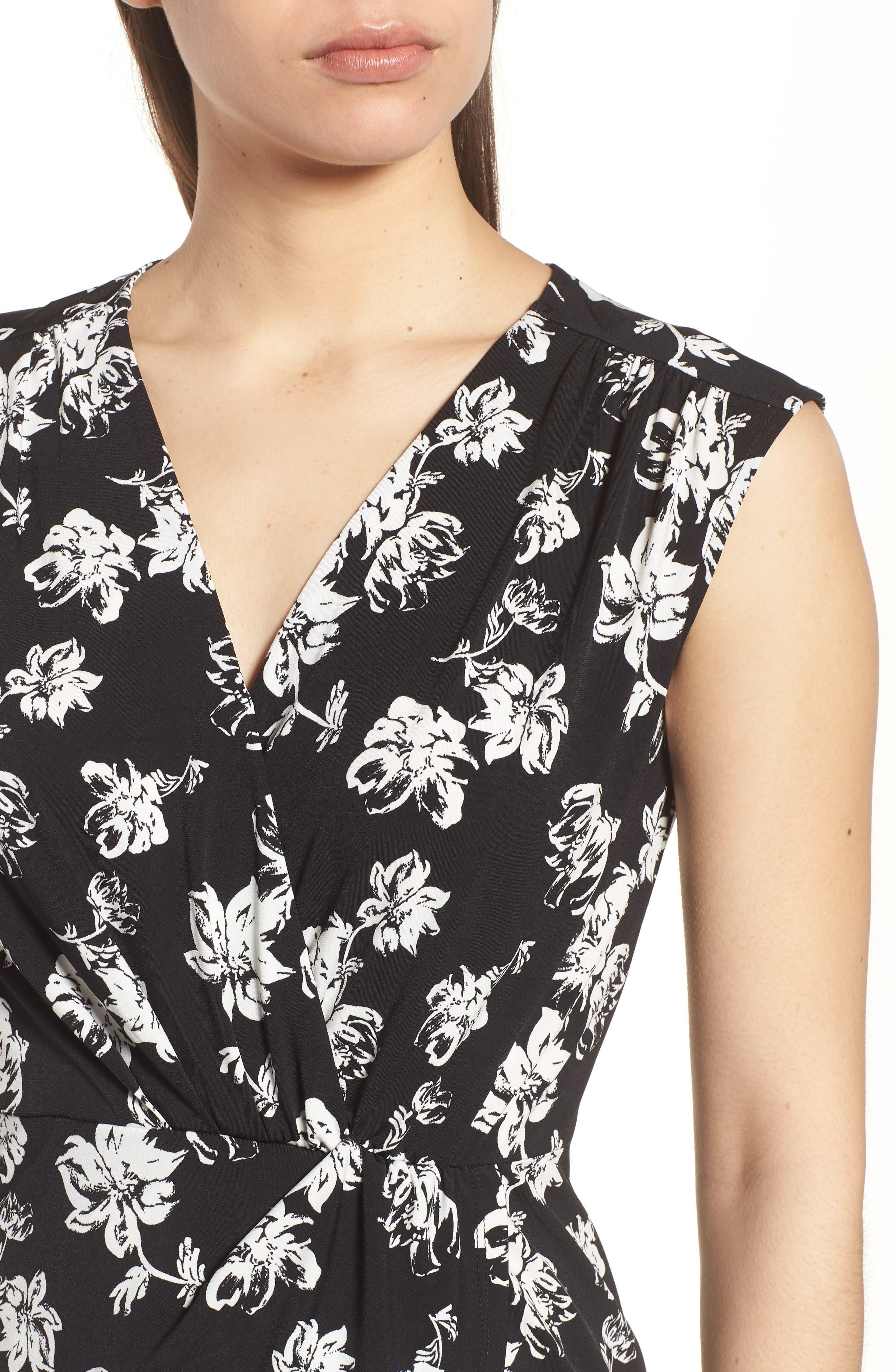 Floral Breeze Knot Front Top,                             Alternate thumbnail 4, color,                             060-Rich Black