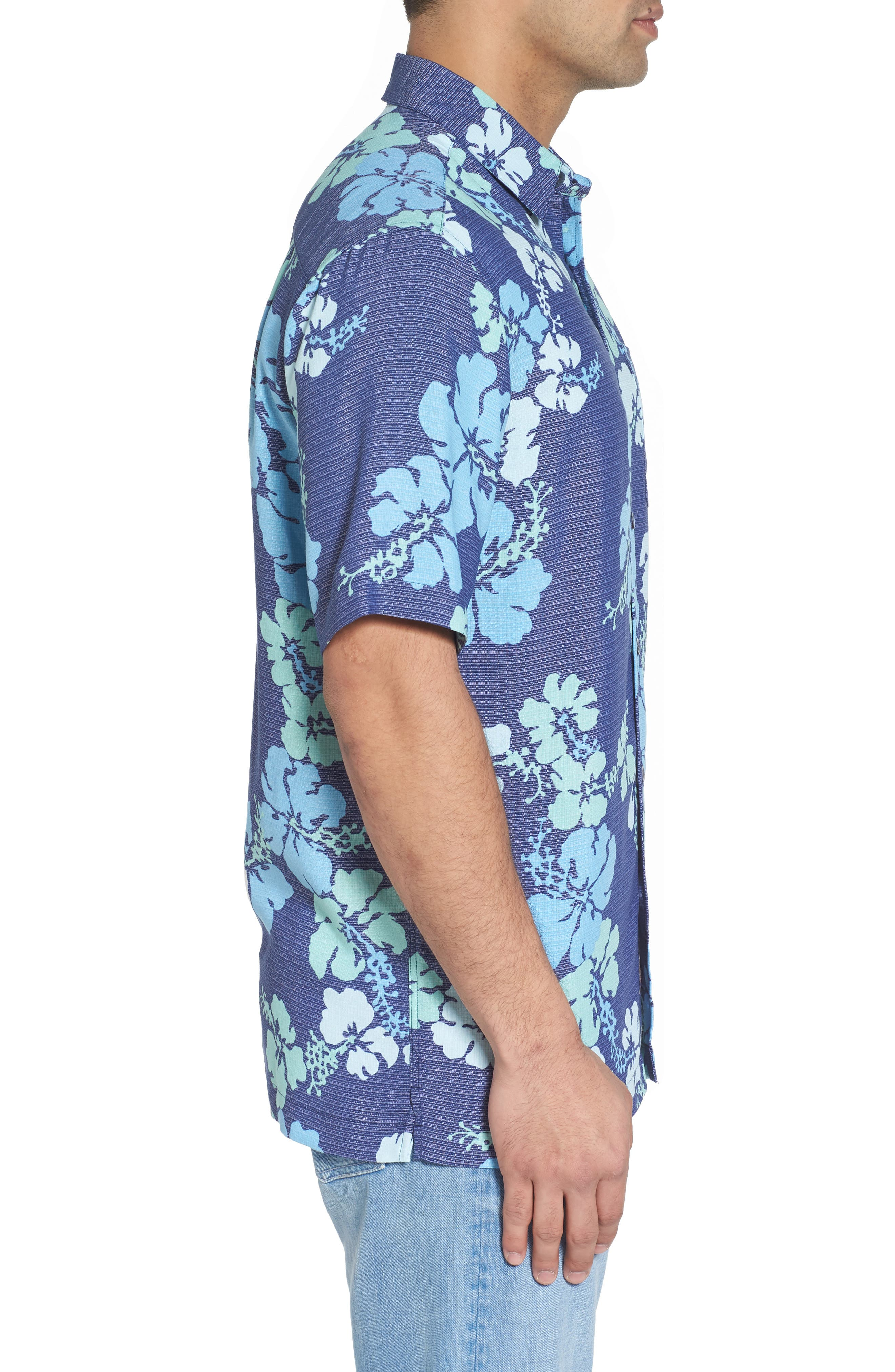 Lei Day Standard Fit Camp Shirt,                             Alternate thumbnail 3, color,                             Navy
