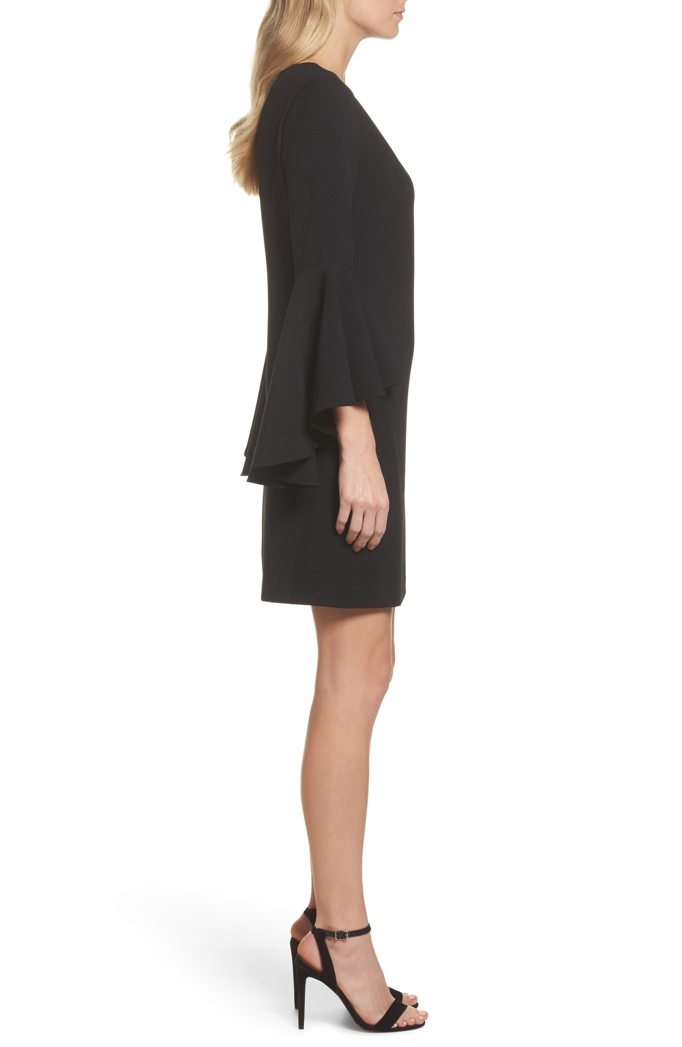 Alternate Image 3  - Eliza J Bell Sleeve Crepe Shift Dress (Regular & Petite)