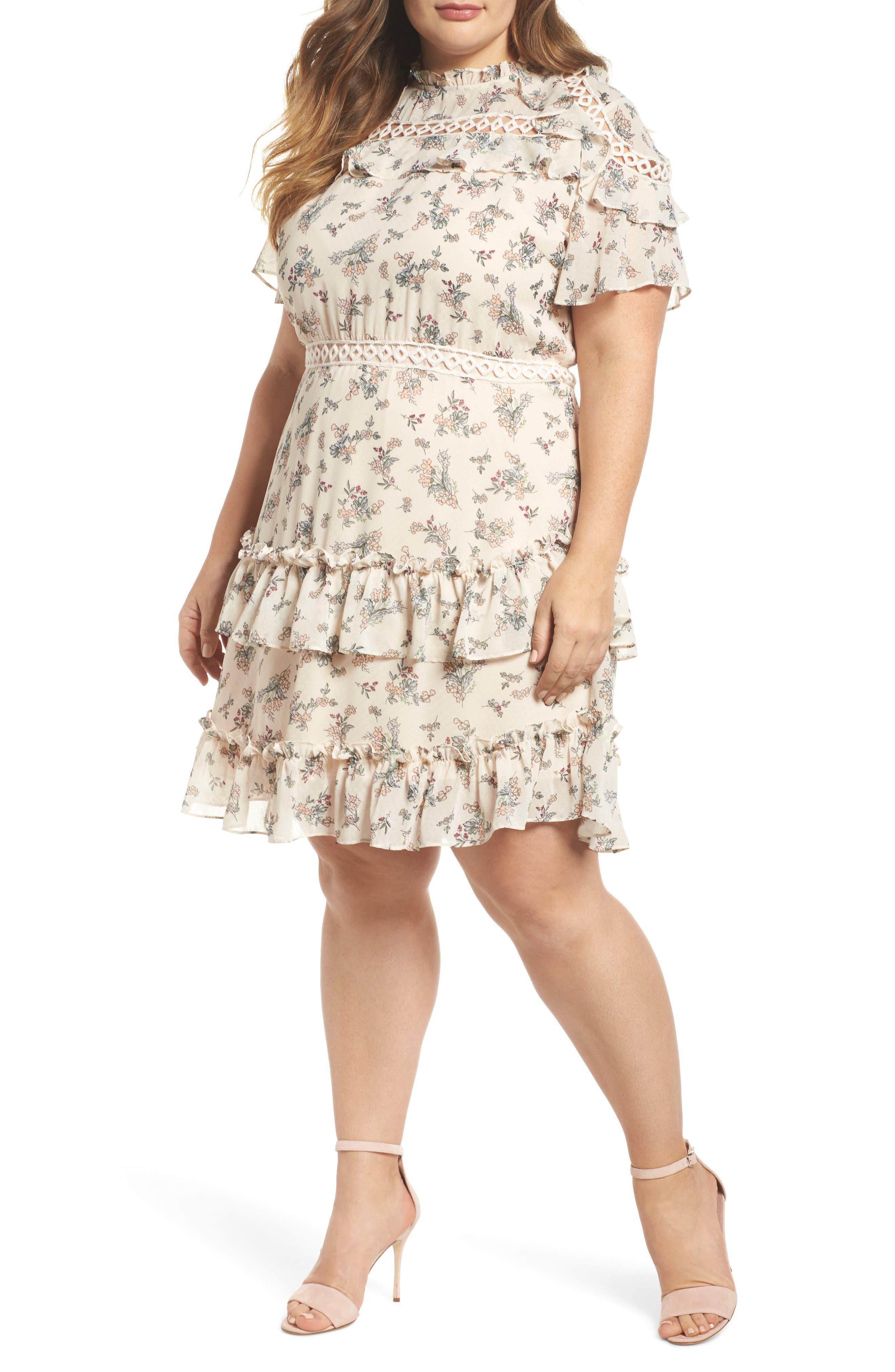 Print Ruffle Dress,                         Main,                         color, Blush Floral Bunch