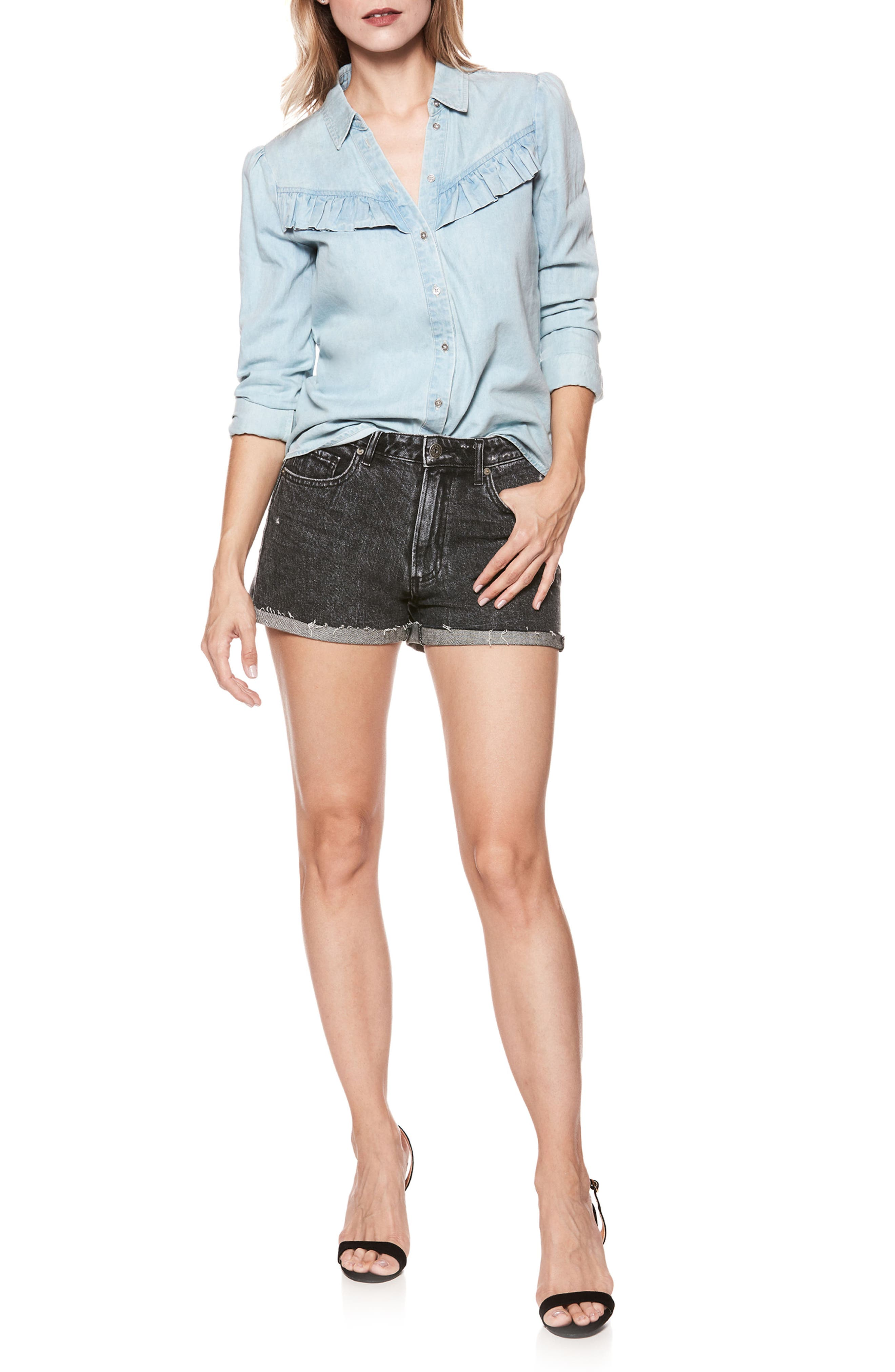 Layda Ruffle Western Chambray Shirt,                             Alternate thumbnail 2, color,                             Trey