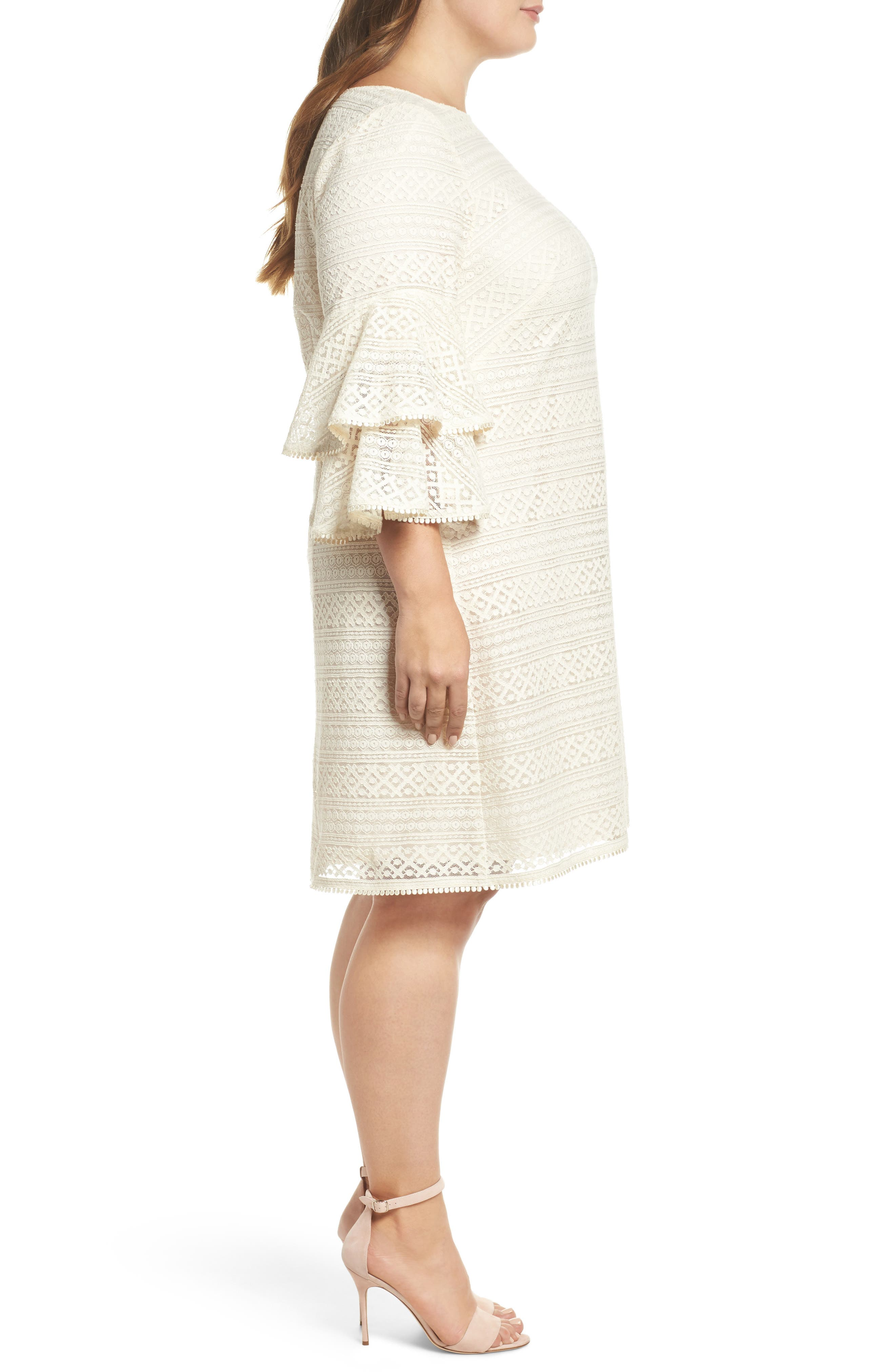 Bell Sleeve Lace Shift Dress,                             Alternate thumbnail 3, color,                             Ivory