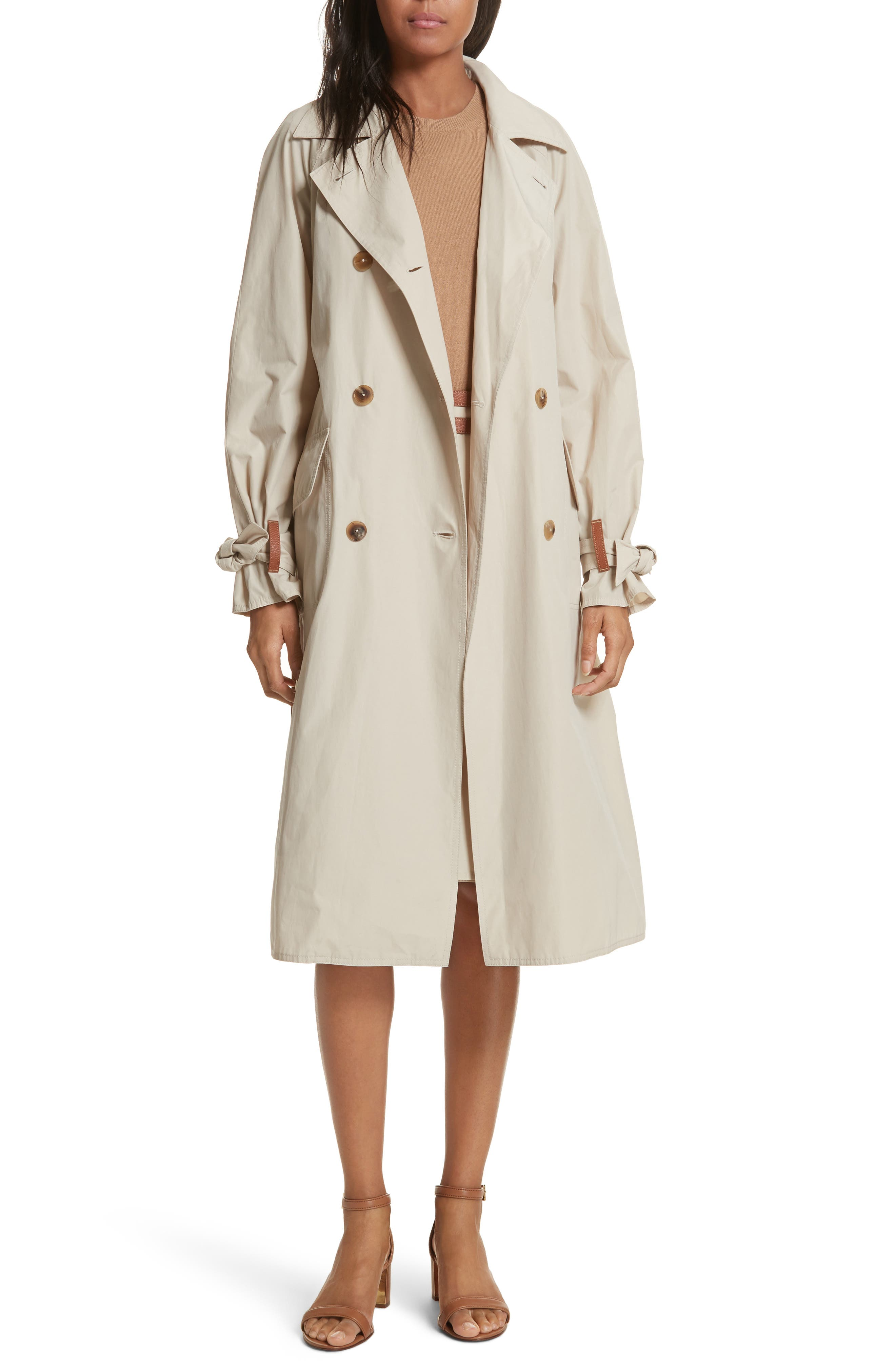 Marielle Leather Trim Trench Coat,                         Main,                         color, Pale Stone