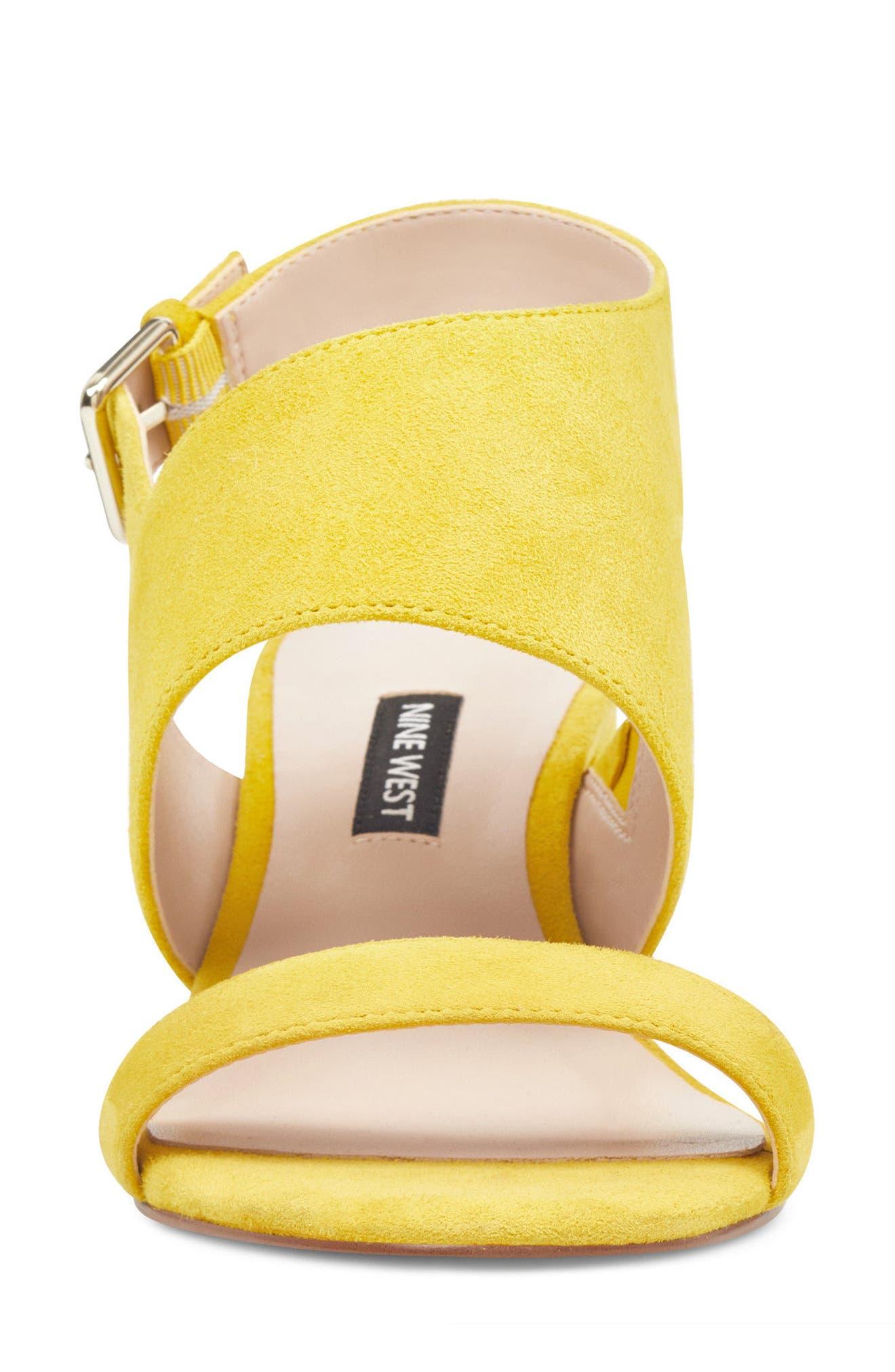 Forli Asymmetrical Sandal,                             Alternate thumbnail 4, color,                             Yellow Suede