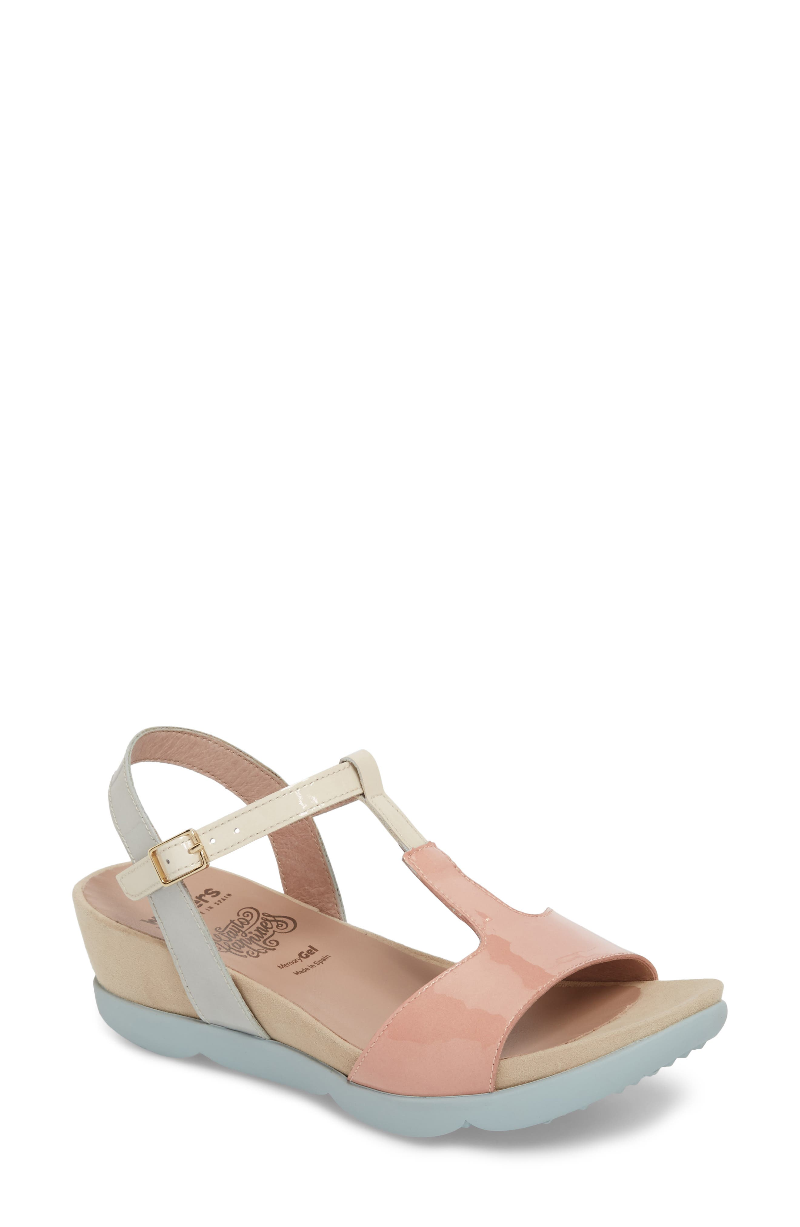 Wedge Sandal,                             Main thumbnail 1, color,                             Nude/ Off/ Light Grey Leather