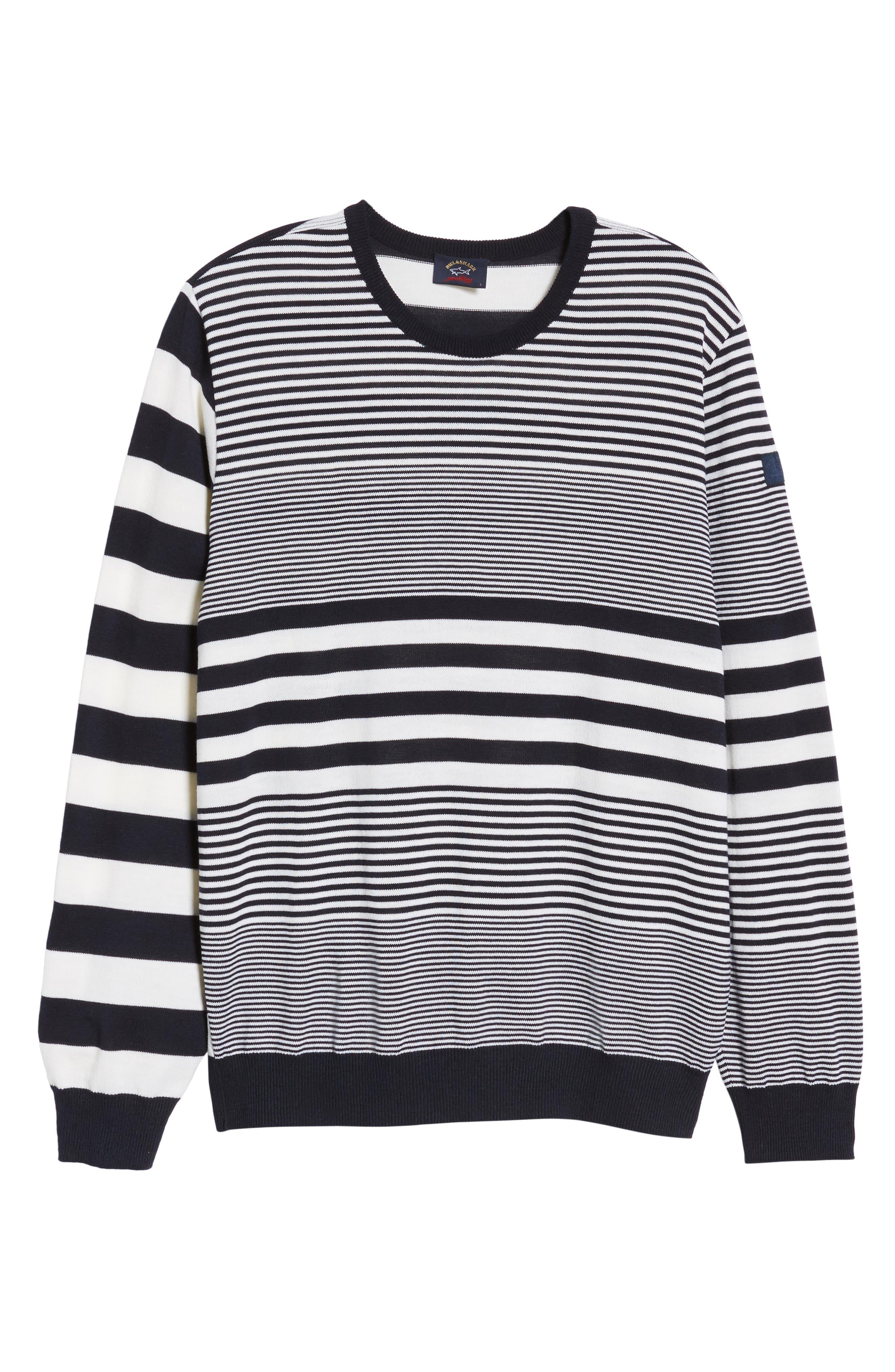 Paul&Shark Stripe Wool Sweater,                             Alternate thumbnail 6, color,                             Navy/ White