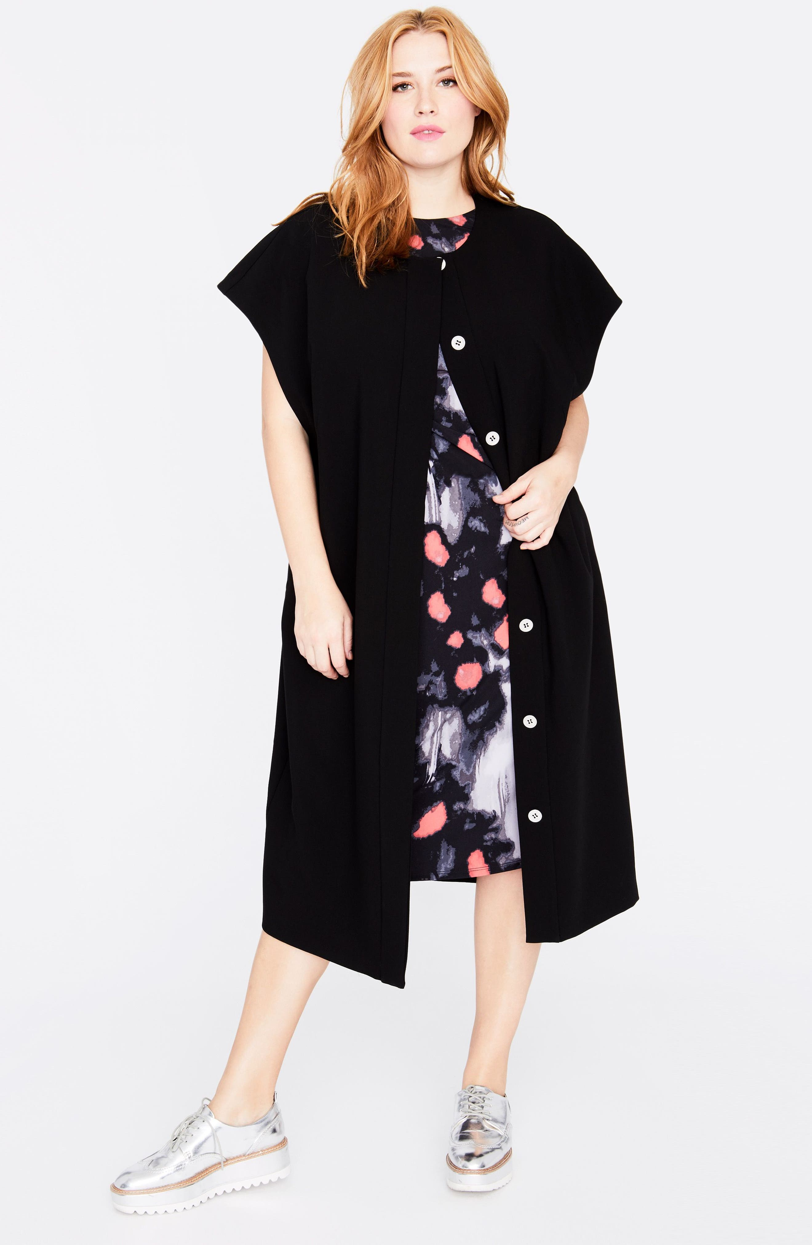 Modern Kimono,                             Alternate thumbnail 3, color,                             Black