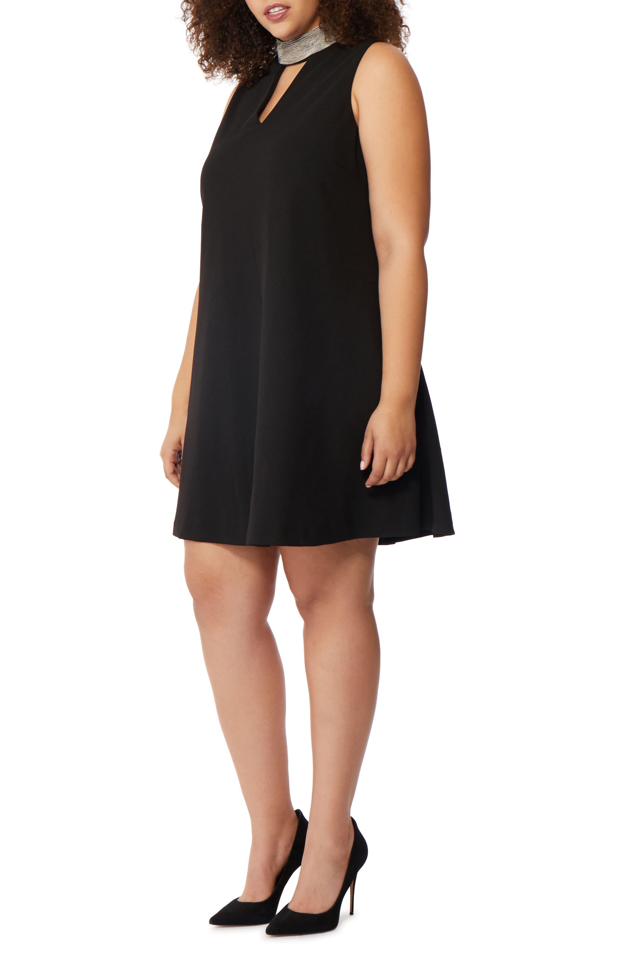 Beaded Choker Dress,                             Main thumbnail 1, color,                             Black