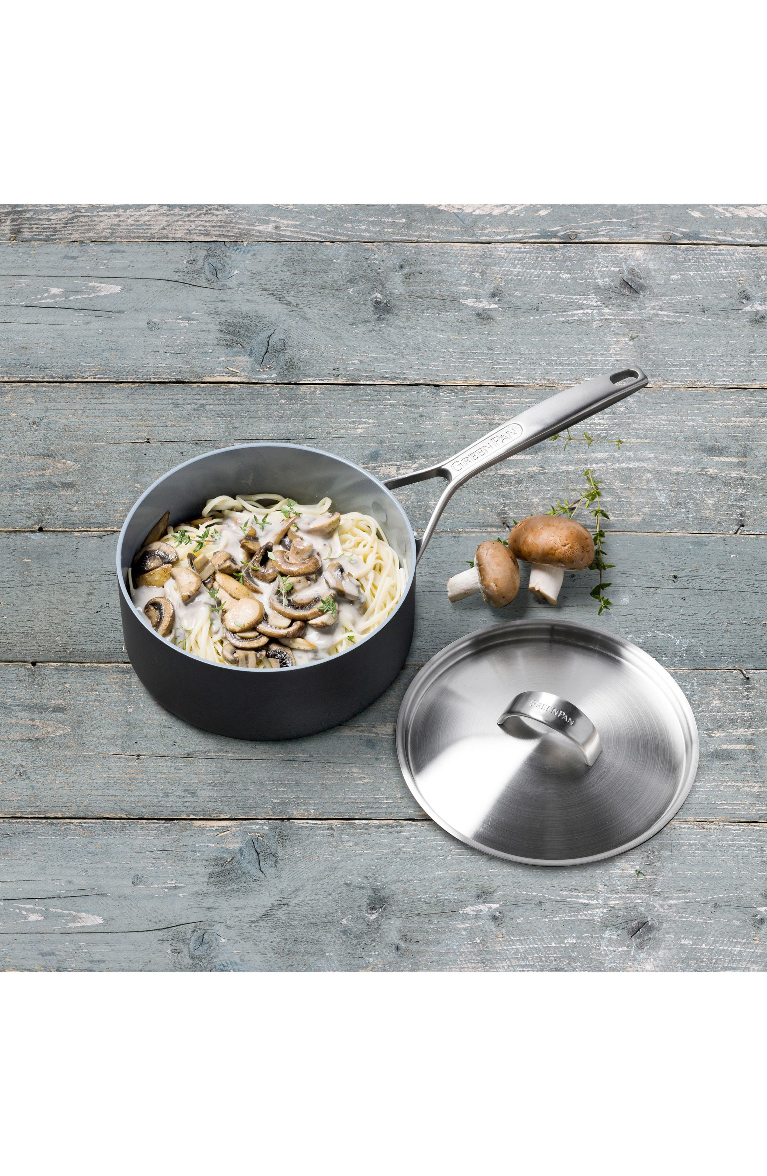 Paris 2-Quart Multilayer Stainless Steel Ceramic Nonstick Saucepan with Lid,                             Alternate thumbnail 3, color,                             Grey
